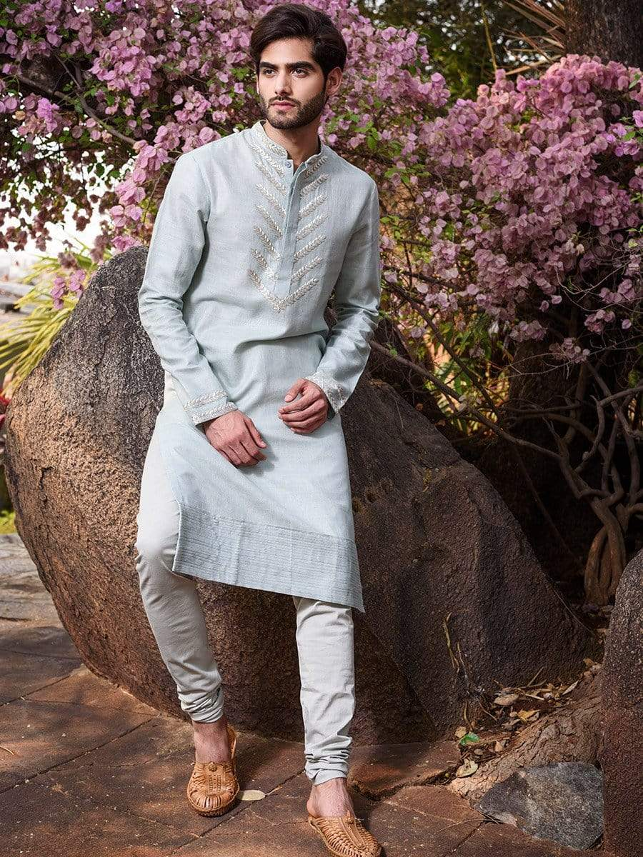 Anushree Reddy Mens Kurtas Powder blue silk kurta