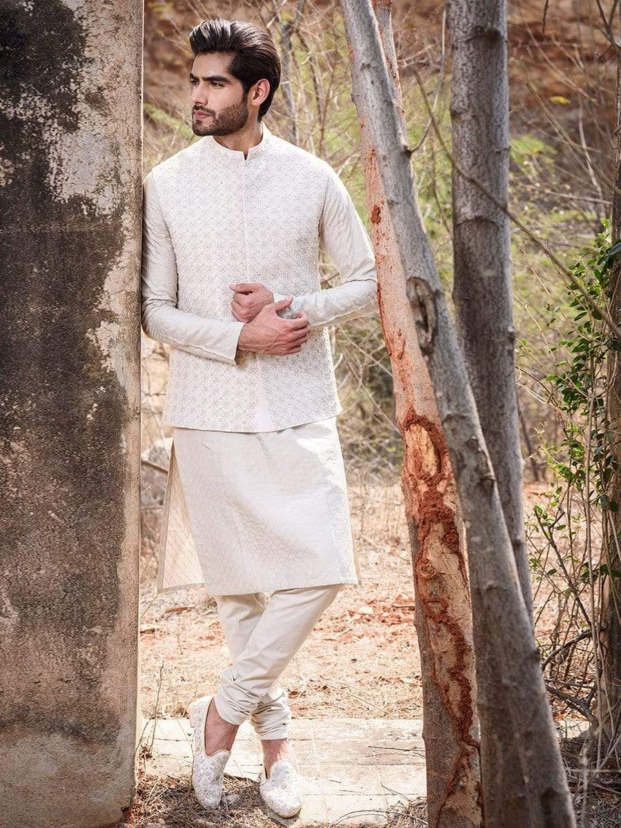 Anushree Reddy Mens Nehru jackets Embroidered nehru jacket with kurta and churidaar