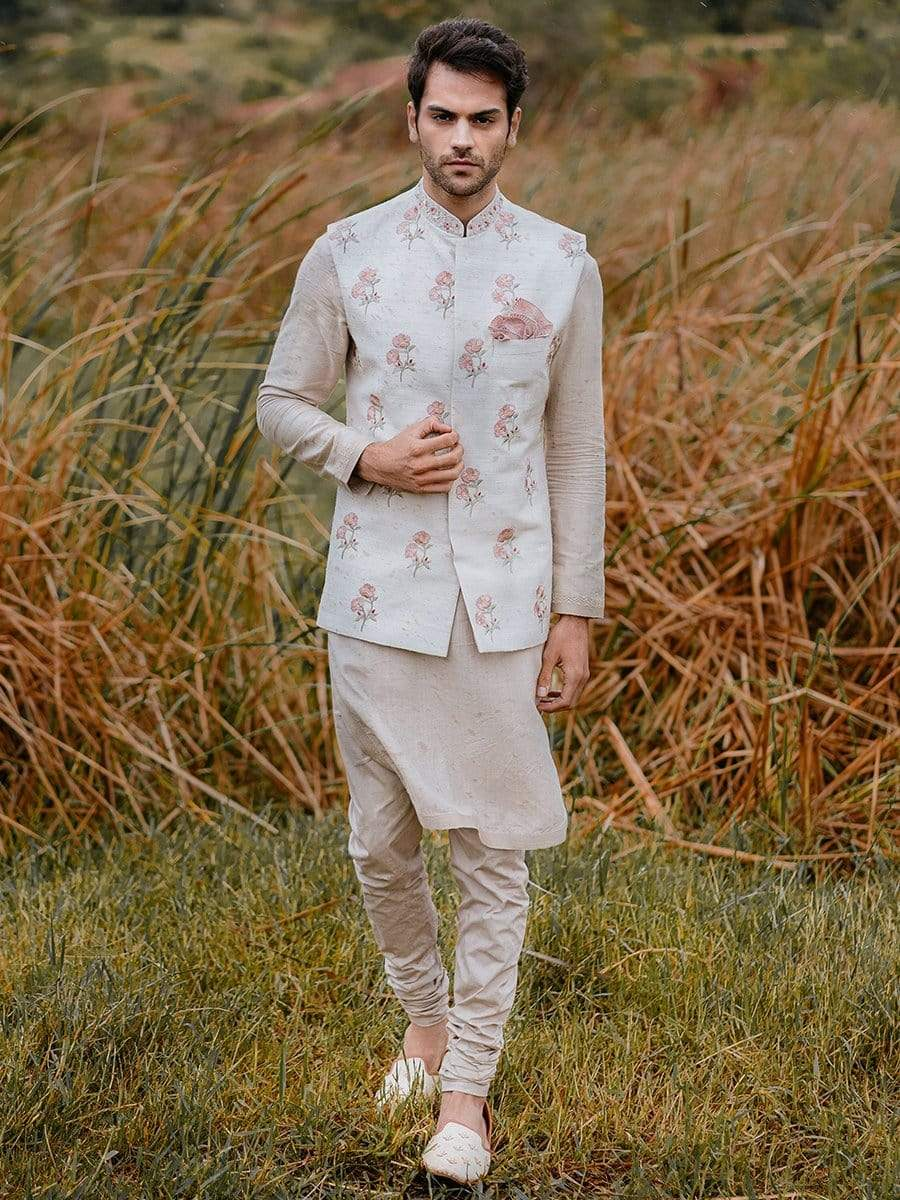 Anushree Reddy Mens Nehru jackets Floral nehru jacket with kurta & churidaar