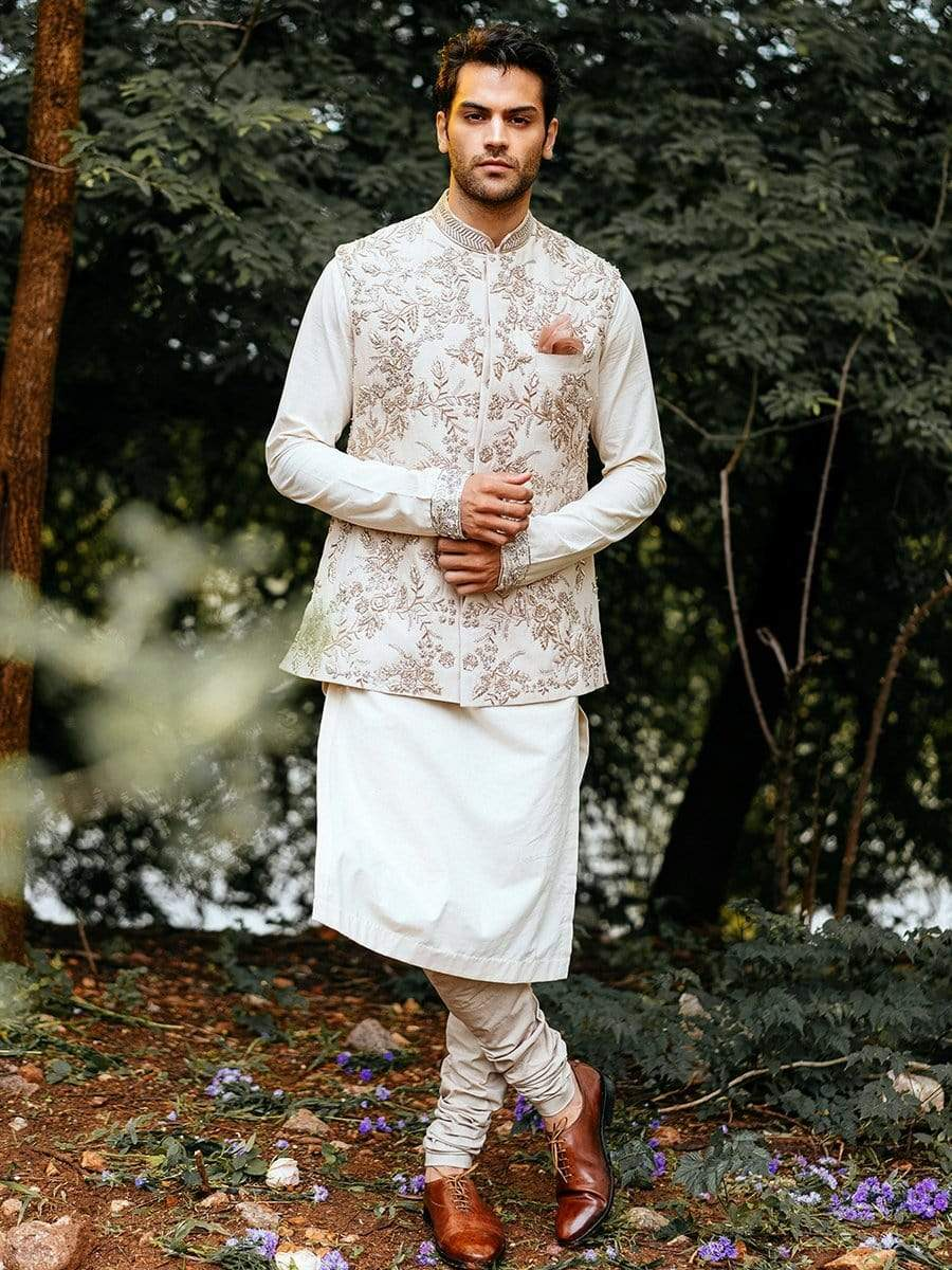Anushree Reddy Mens Nehru jackets Ivory floral nehru jacket with kurta