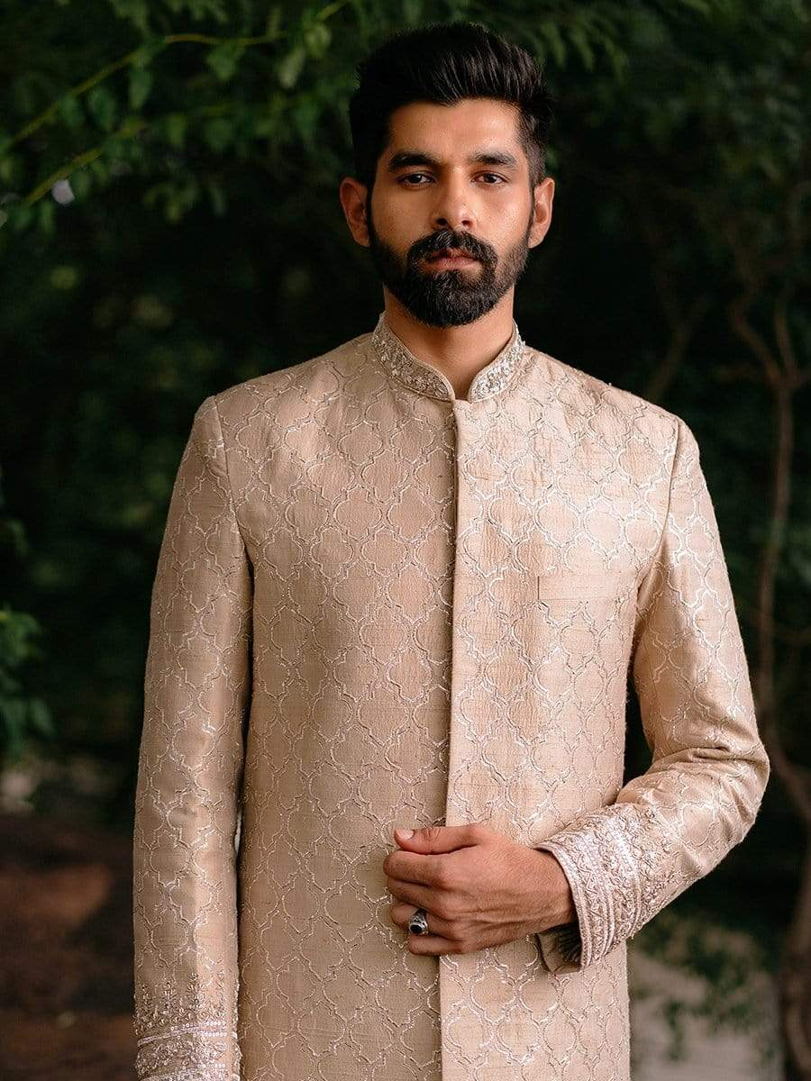 Anushree Reddy Mens Sherwanis Beige sherwani and churidars