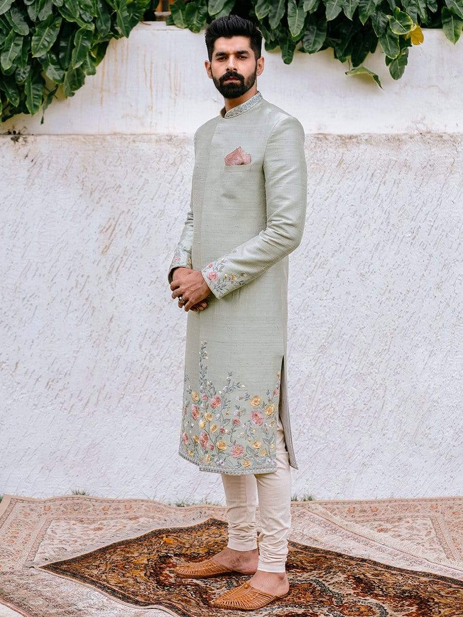 Anushree Reddy Mens Sherwanis Embroidered tiffany sherwani with sleeve detailing