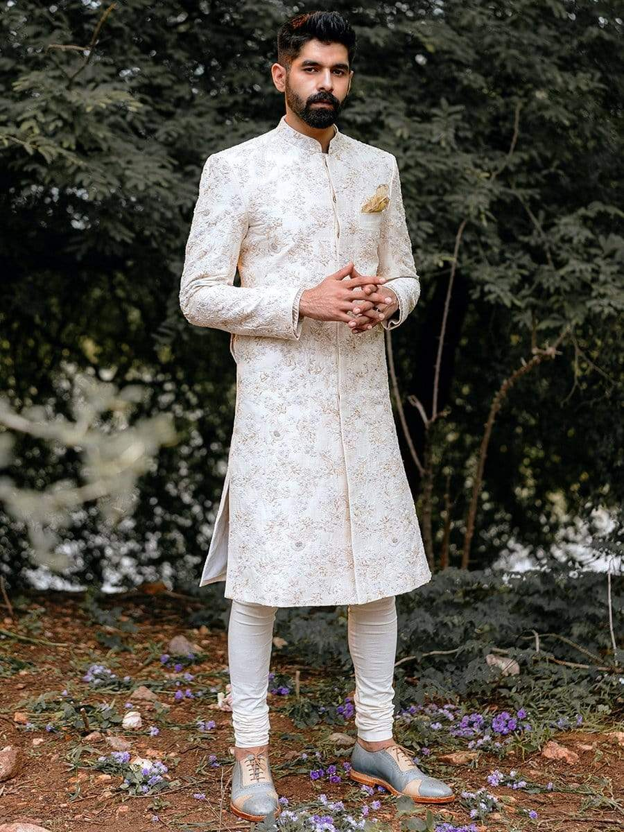 Anushree Reddy Mens Sherwanis Off white raw silk sherwani set