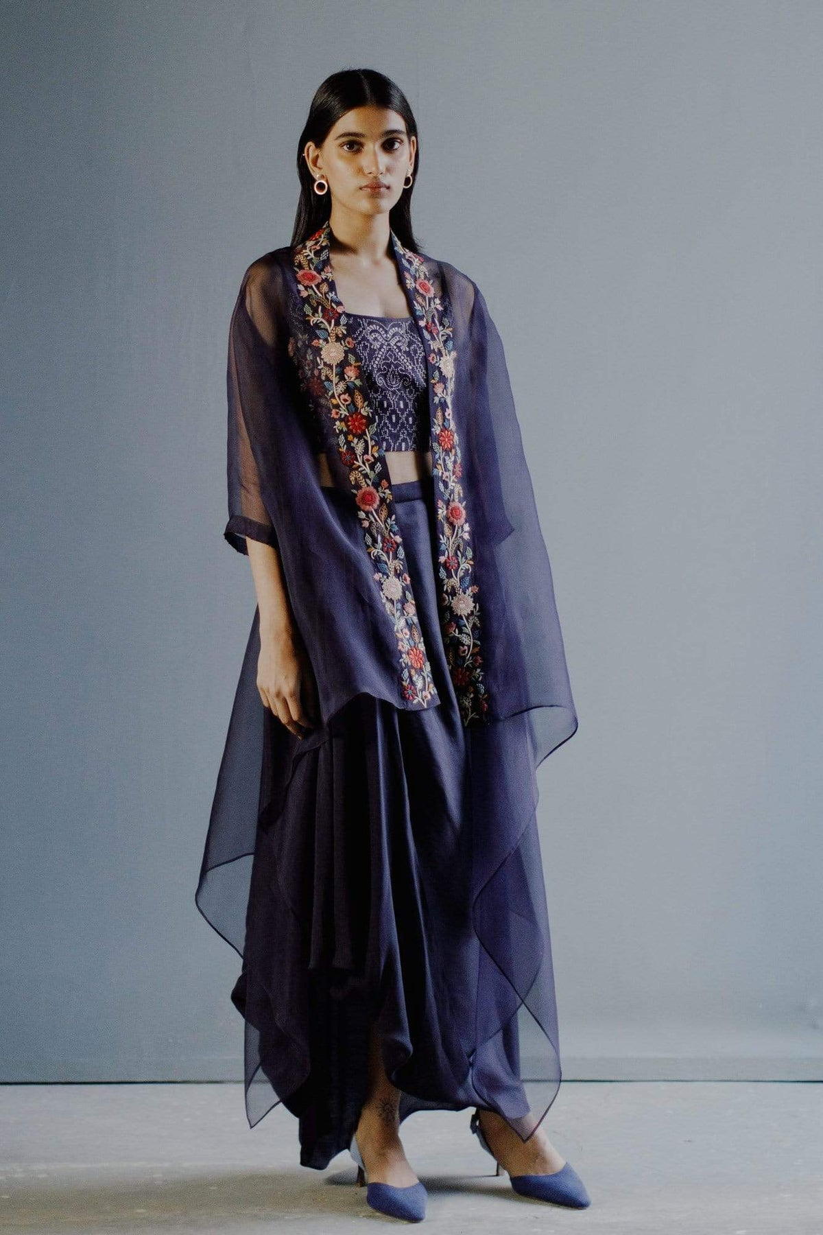 Divyam Mehta Co-ordinated sets Space blue cape set