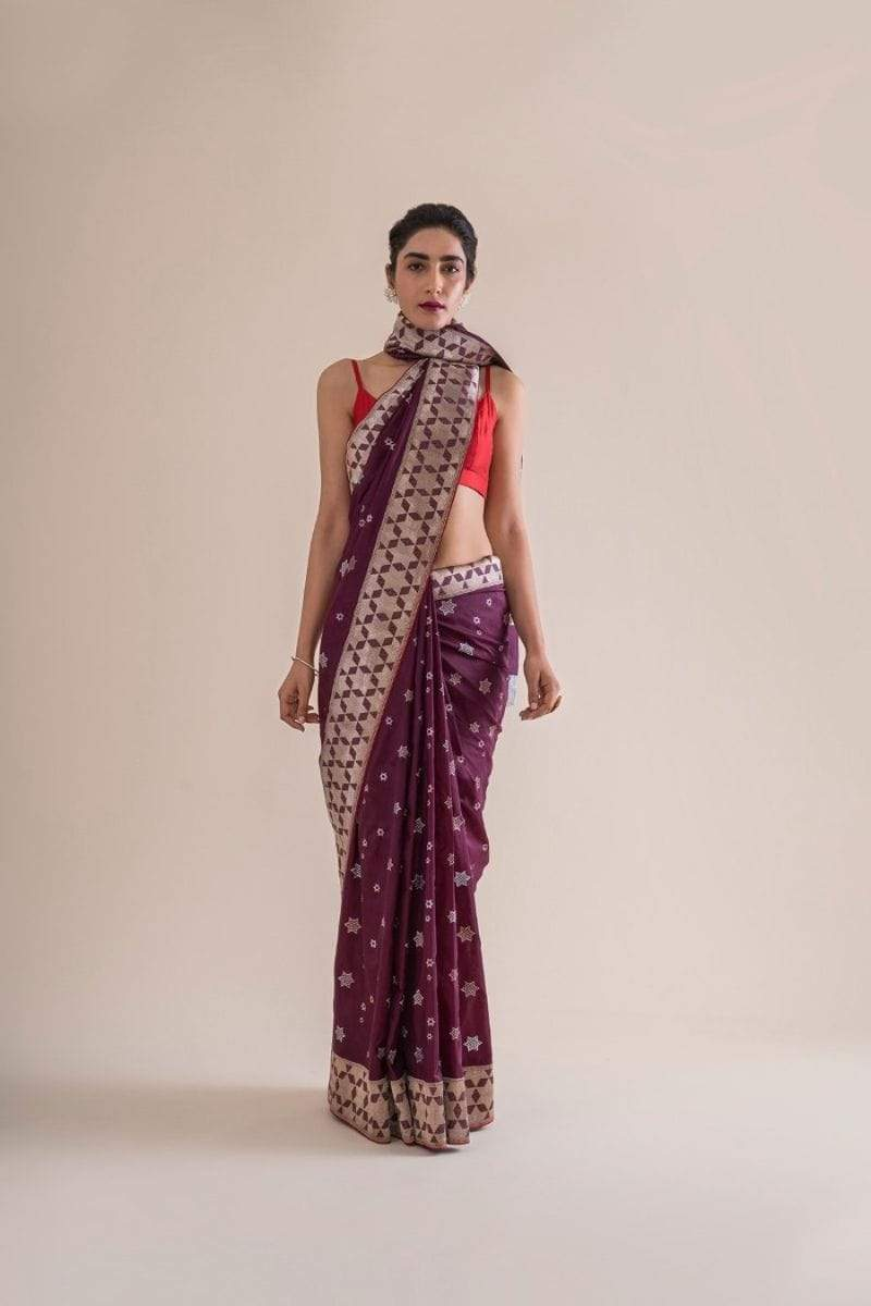 Ekaya Sarees FS Handwoven mulberry purple silk sari