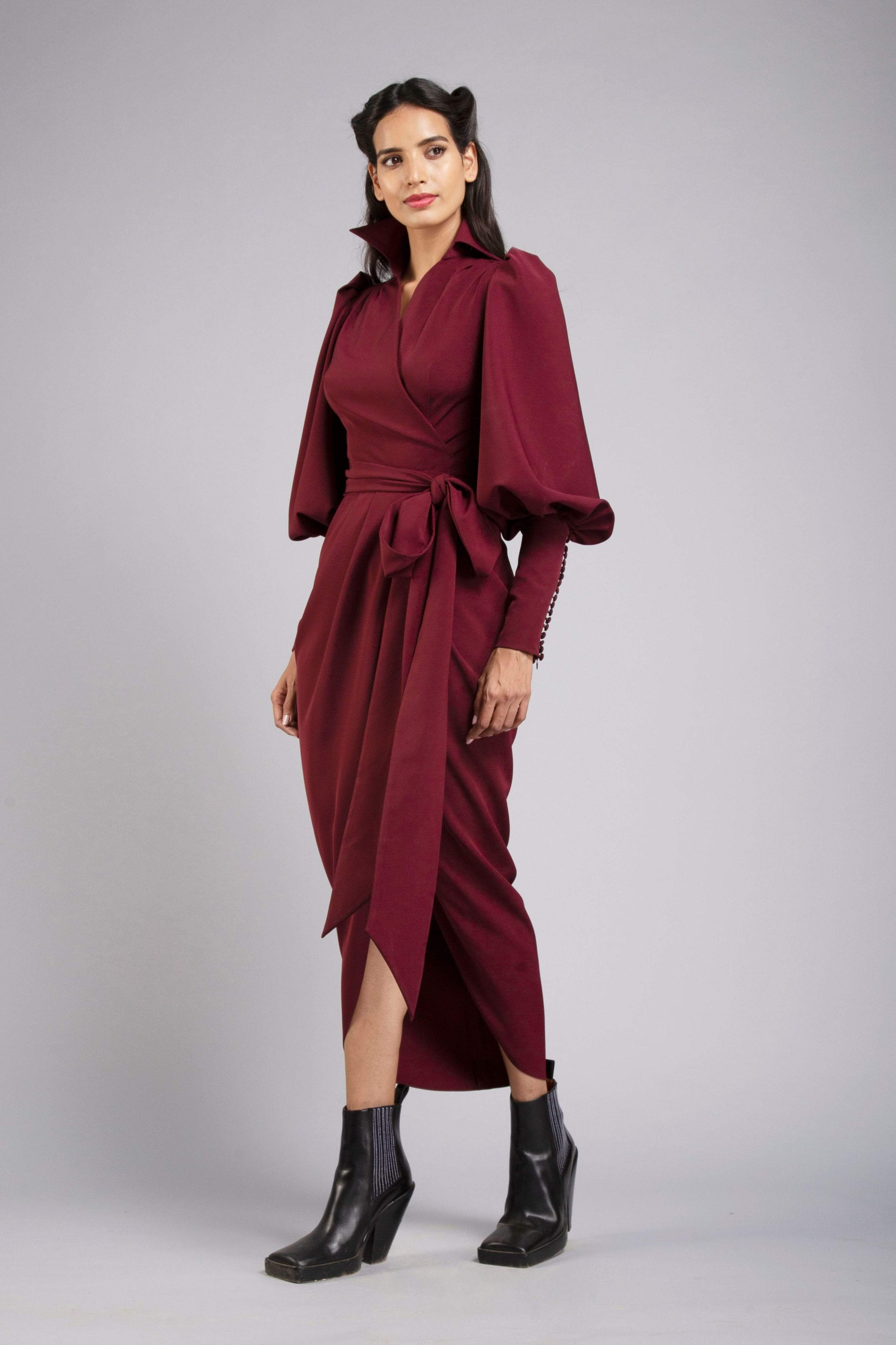 Gauri & Nainika Dresses Berry wrap dress