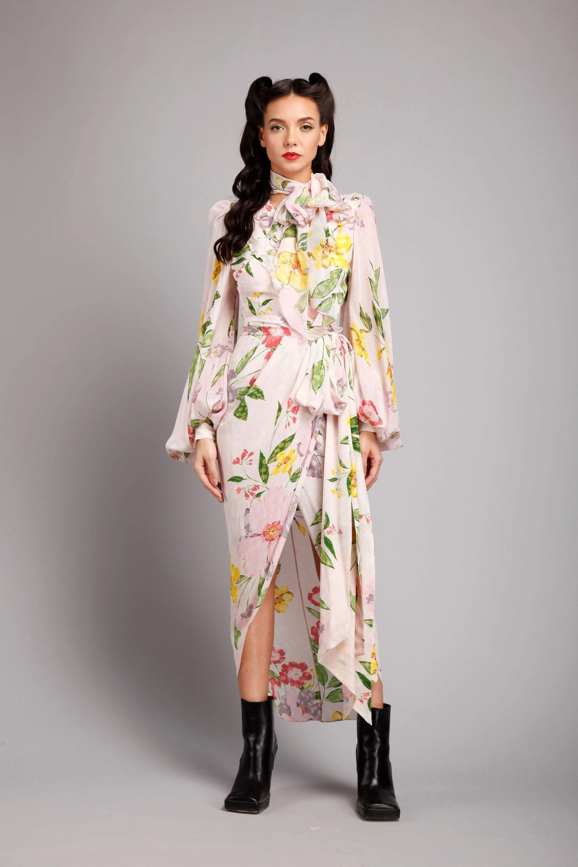 Gauri & Nainika Dresses Pink floral wrap dress