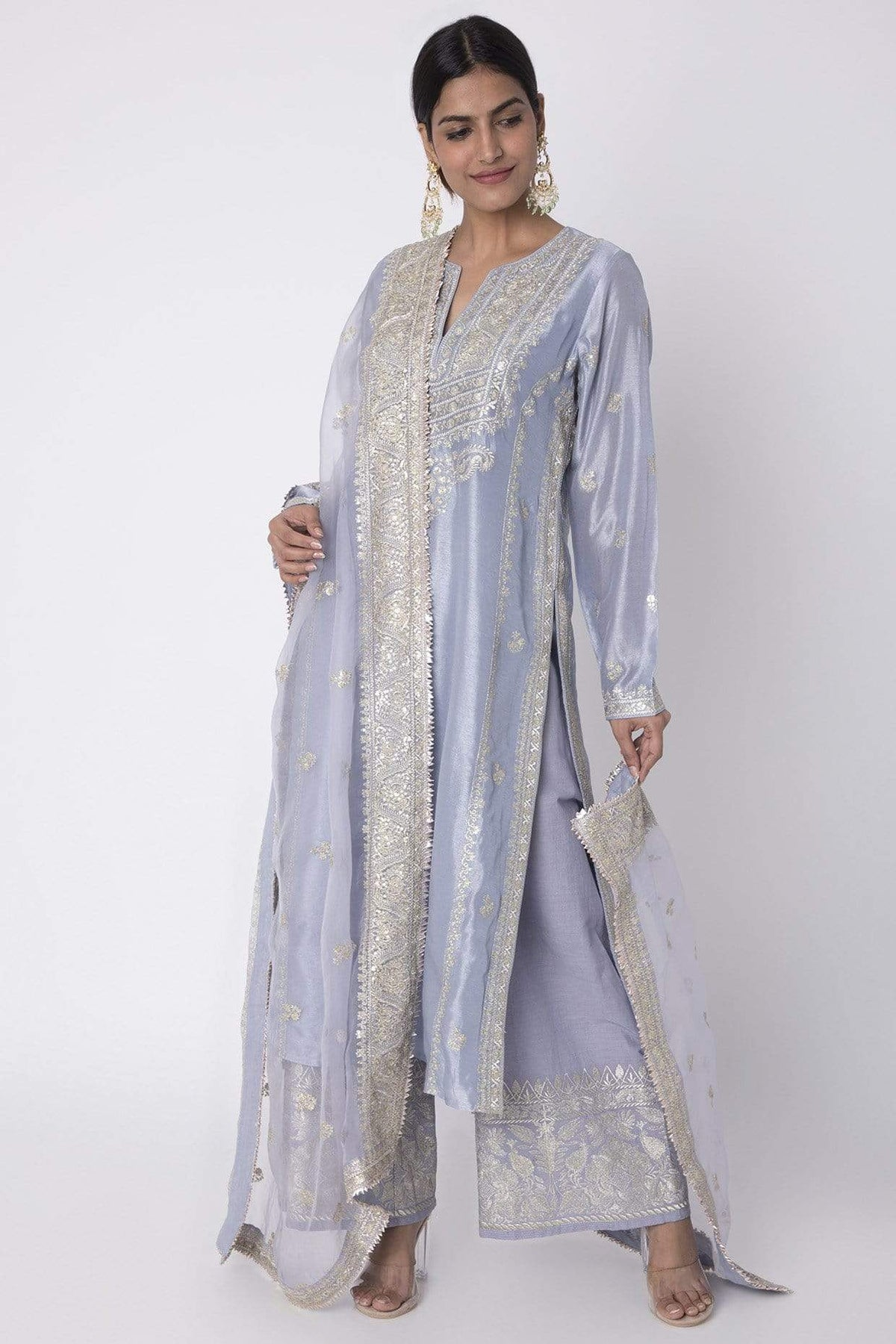 Gopi Vaid Kurtas Lilac cotton silk long set
