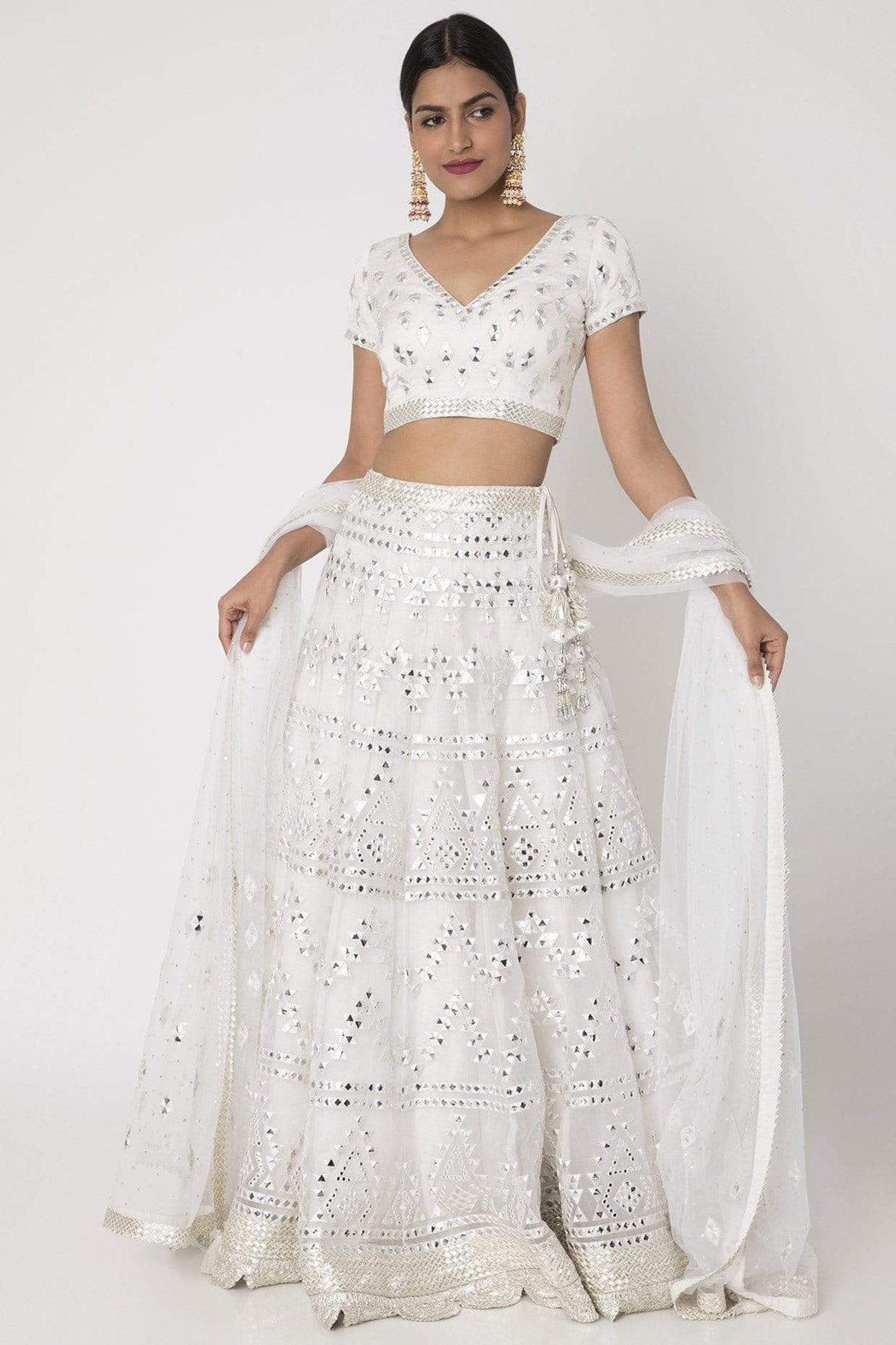 Gopi Viad Light Lehengas White cotton silk lehenga
