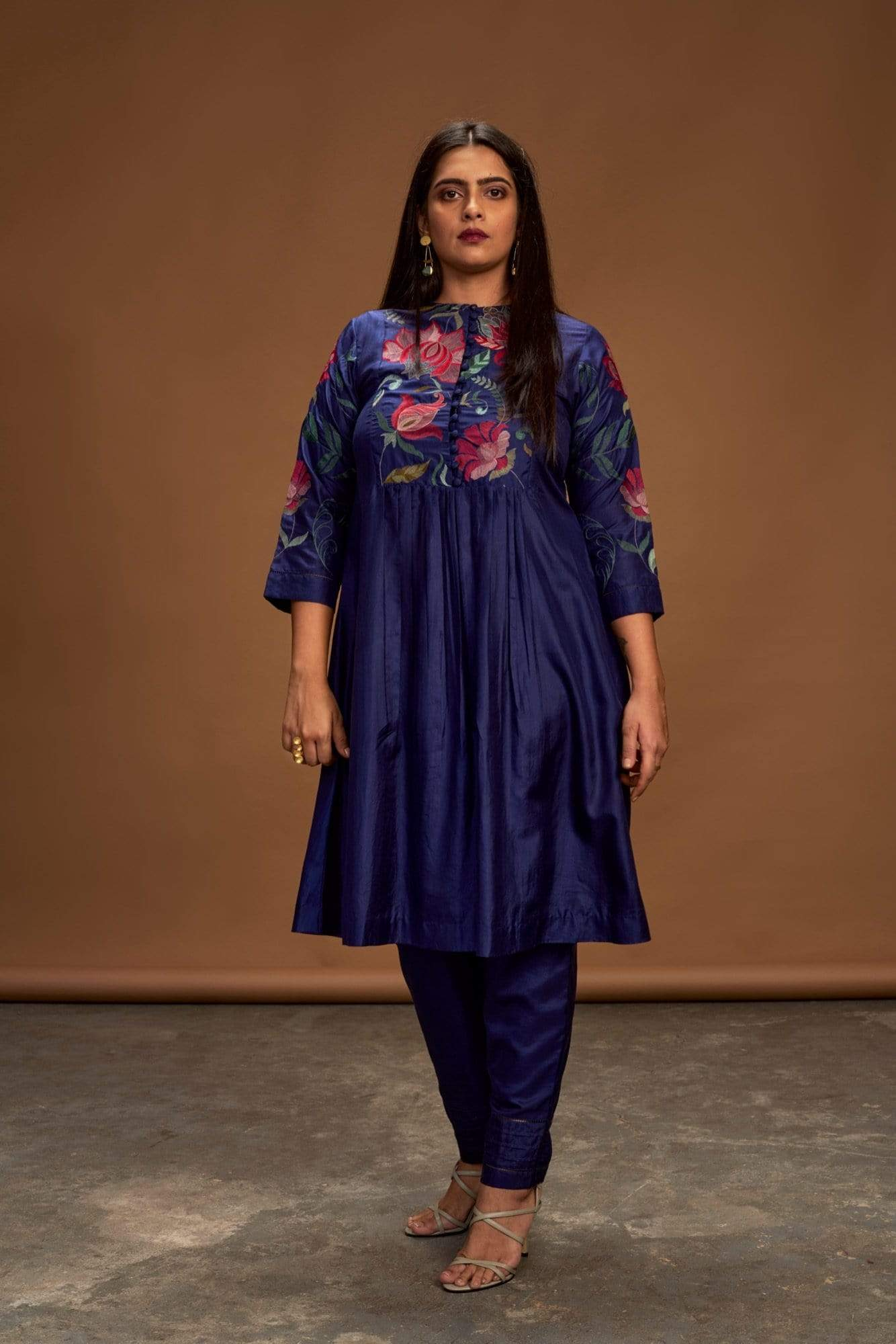 Half Full Curve Kurtas Kurta and pant set in navy