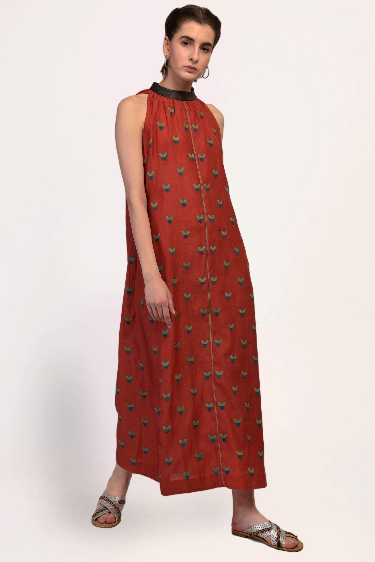 Ikai by Ragini Ahuja Dresses Halter neck dress with leather