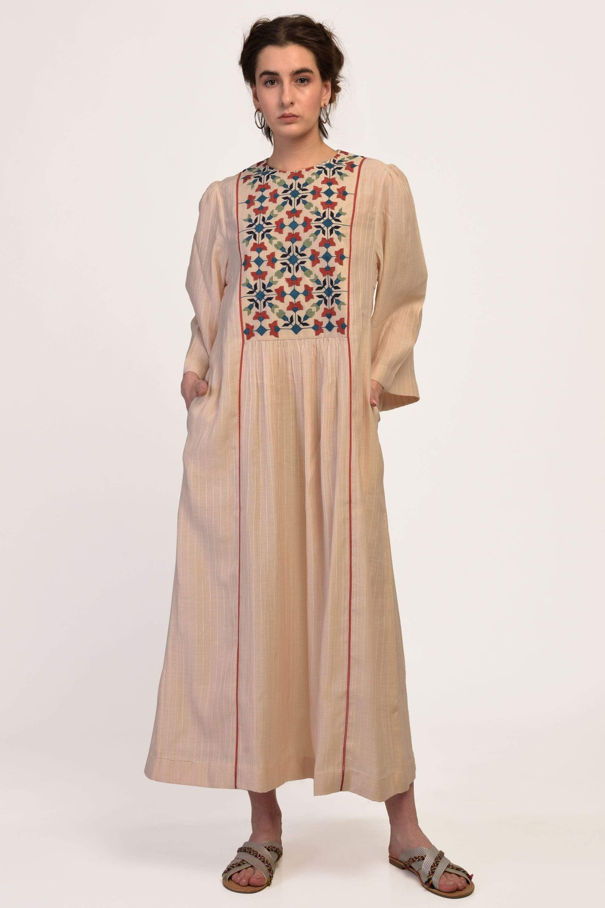Ikai by Ragini Ahuja Dresses Yoke gather dress in beige