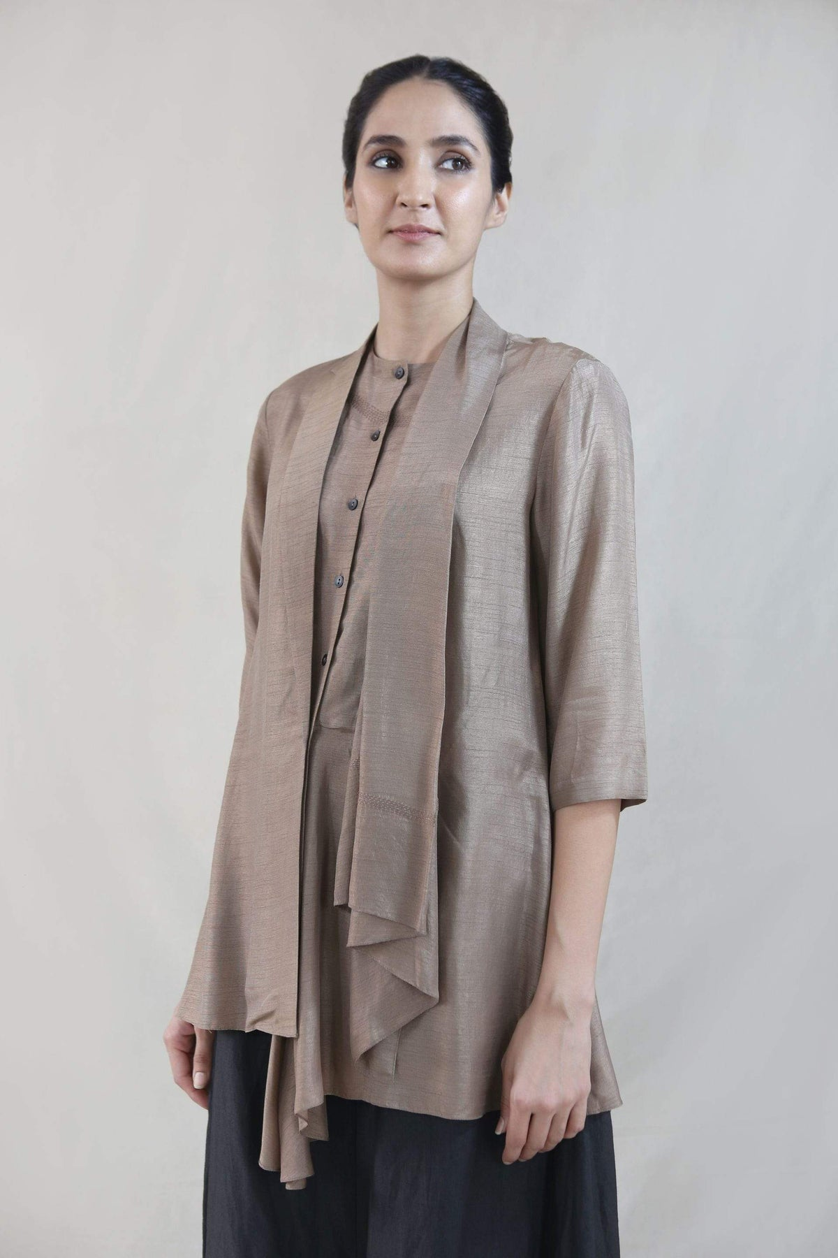 Integument Shirts & Tops Asymmetric blazer with kantha embroidery