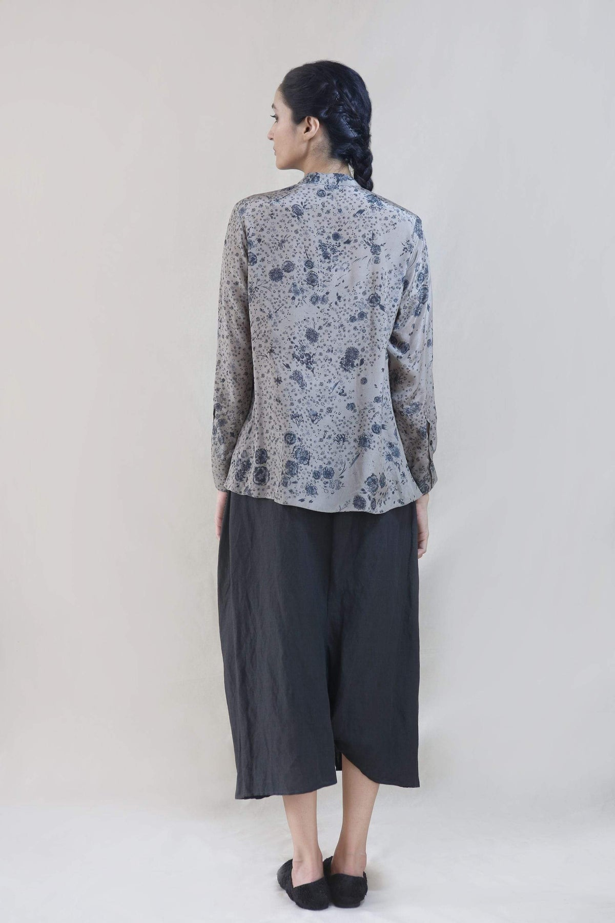 Integument Shirts & Tops Rose print shirt with cinched waist