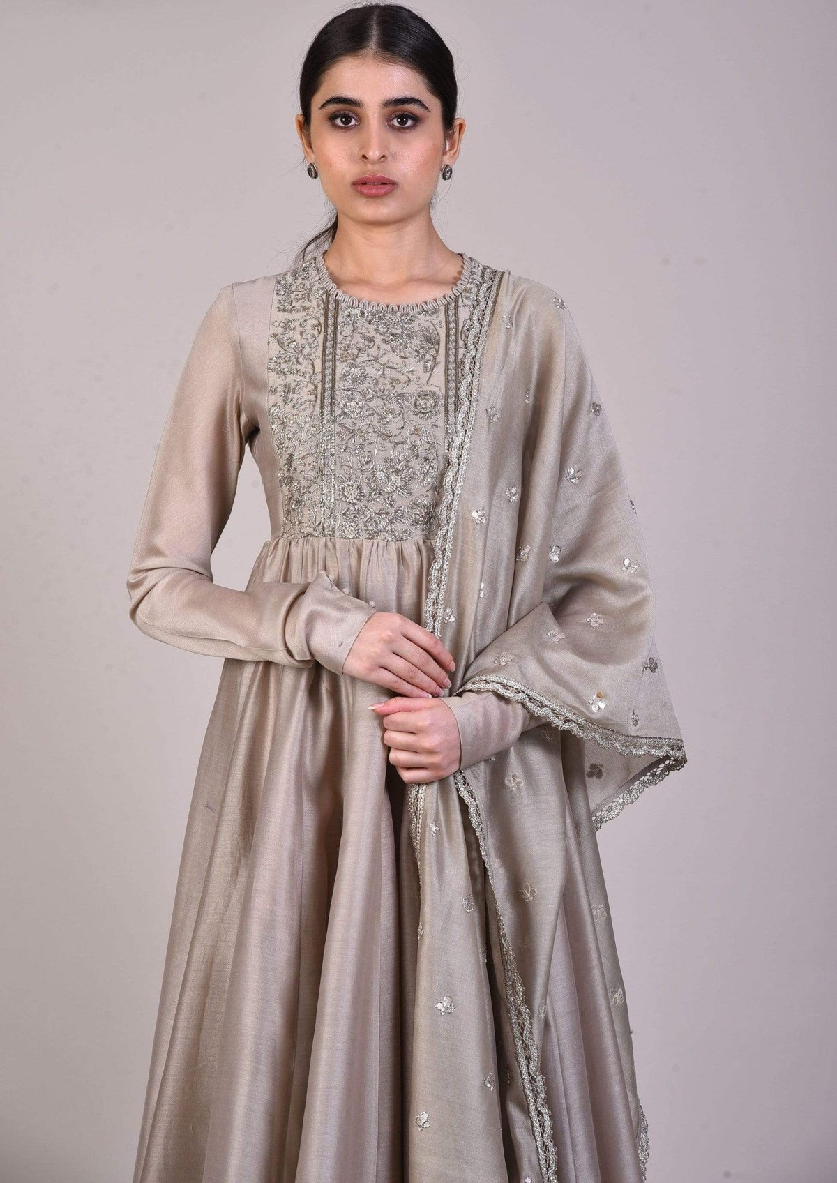 Jayanti Reddy Anarkalis Embroidered beige chanderi anarkali