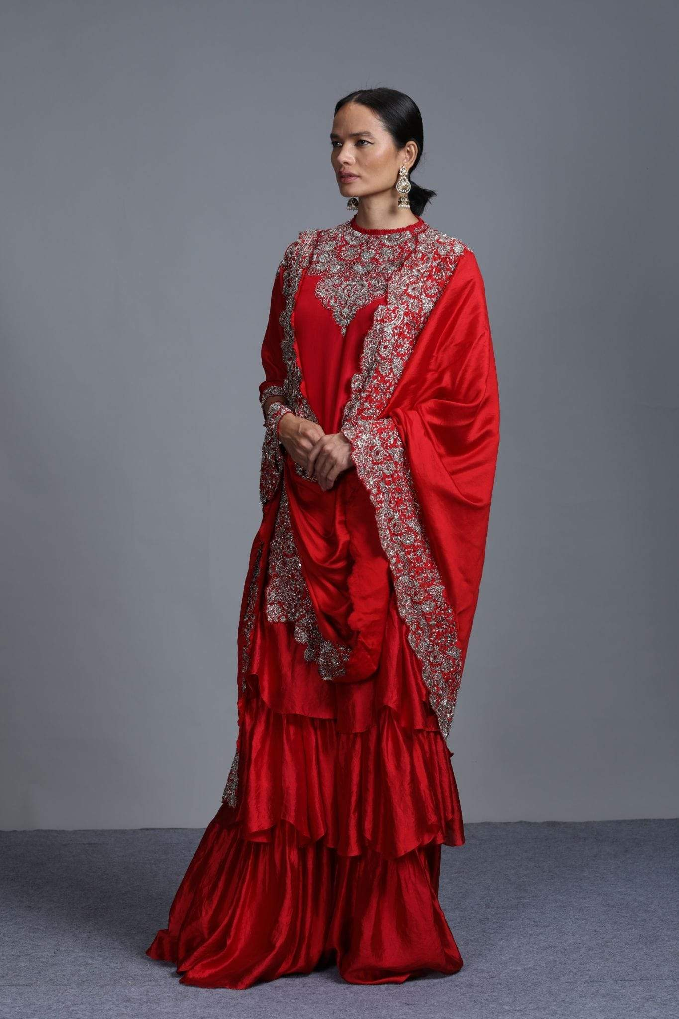 Jayanti Reddy Shararas Sharara set in red