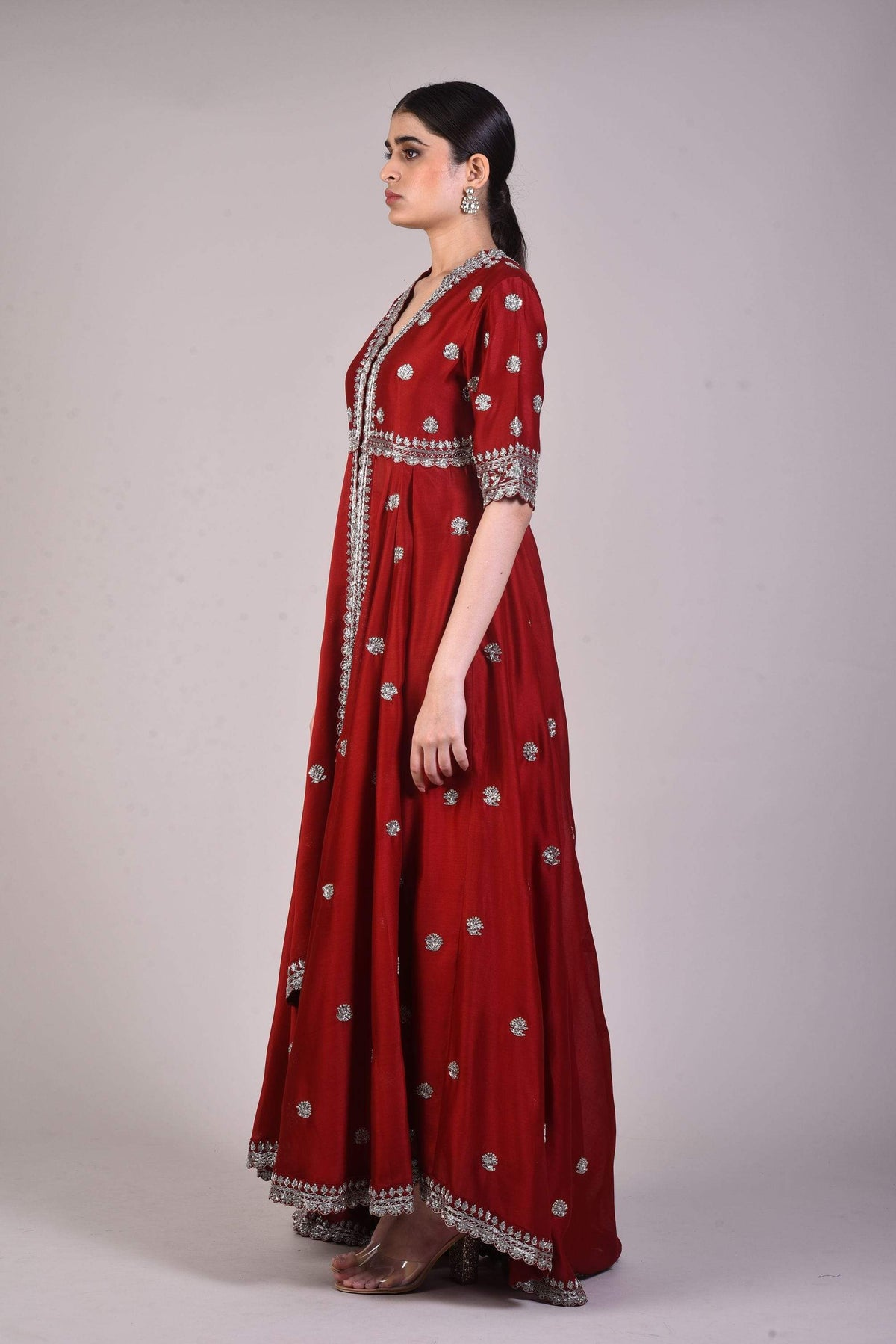 Jayanti Reddy Tunics Maroon silk embroidered tunic