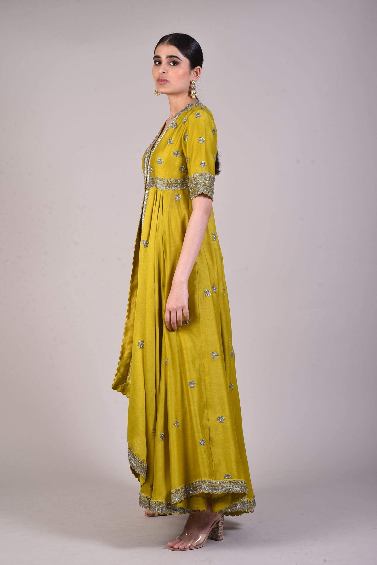 Jayanti Reddy Tunics Mustard silk embroidered tunic