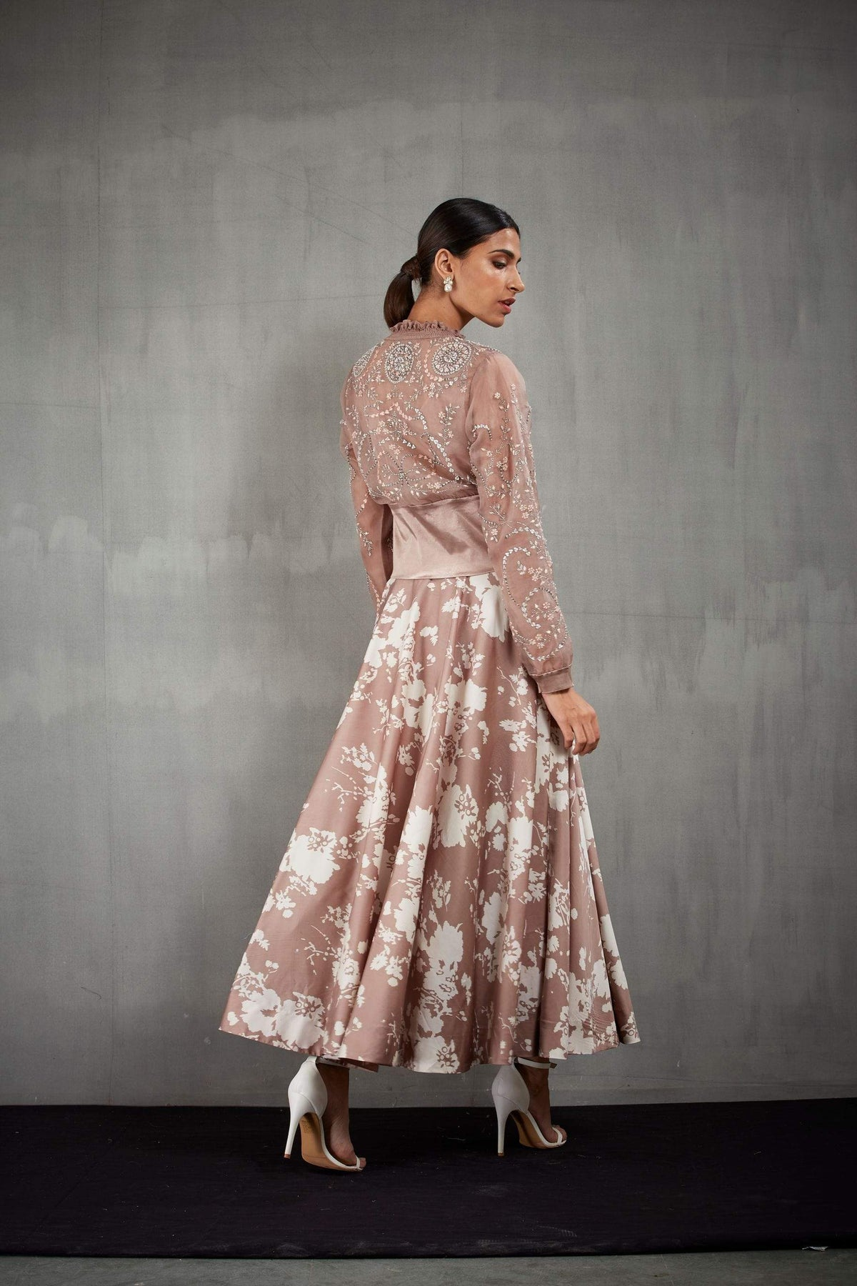 Kavita Bhartia Jackets Bomber jacket with printed skirt