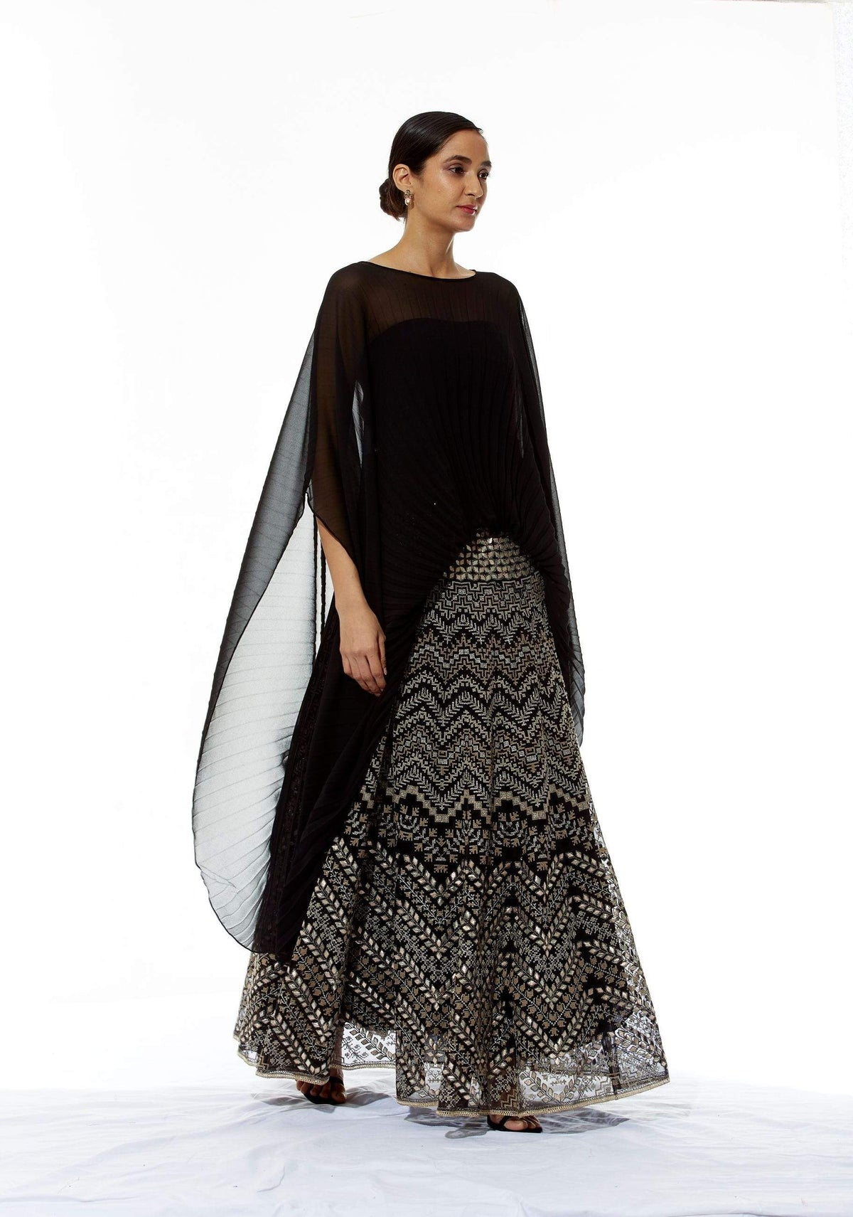 Kavita Bhartia Light Lehengas Pleated poncho with embroidered lehenga