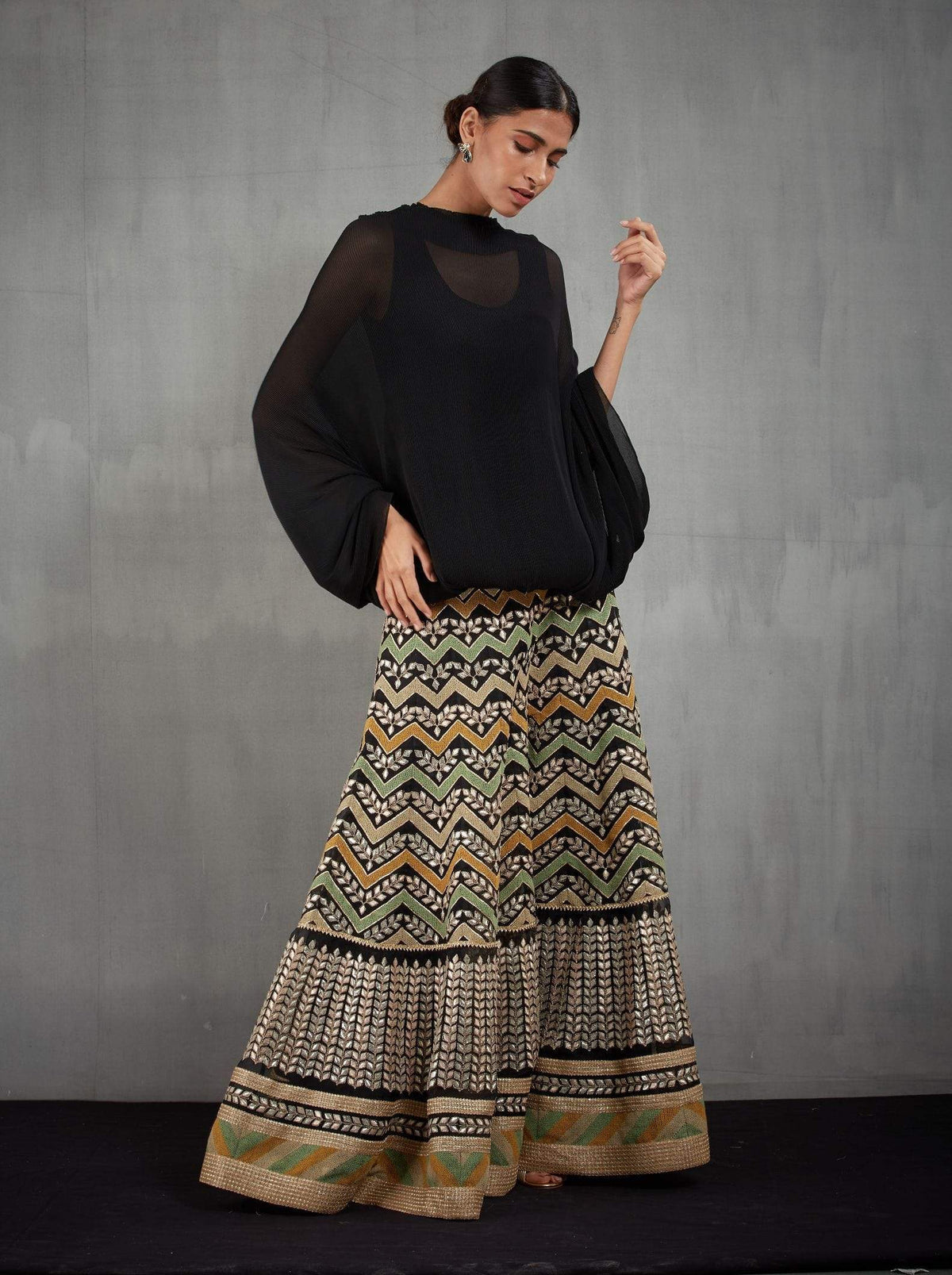 Kavita Bhartia Shararas Crinkle poncho with embroidered sharara
