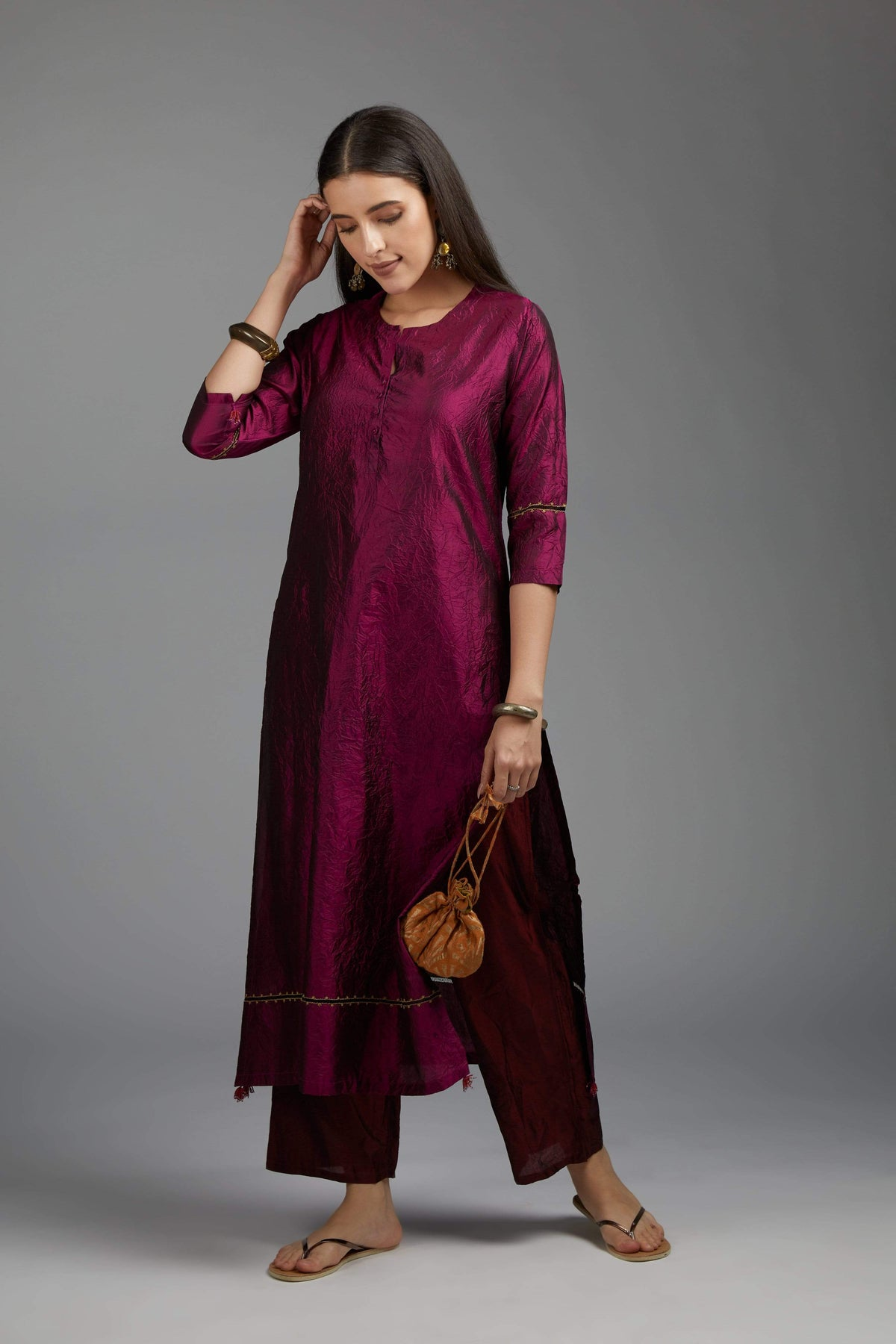 Kora Kurtas Silk kurta with front button placket
