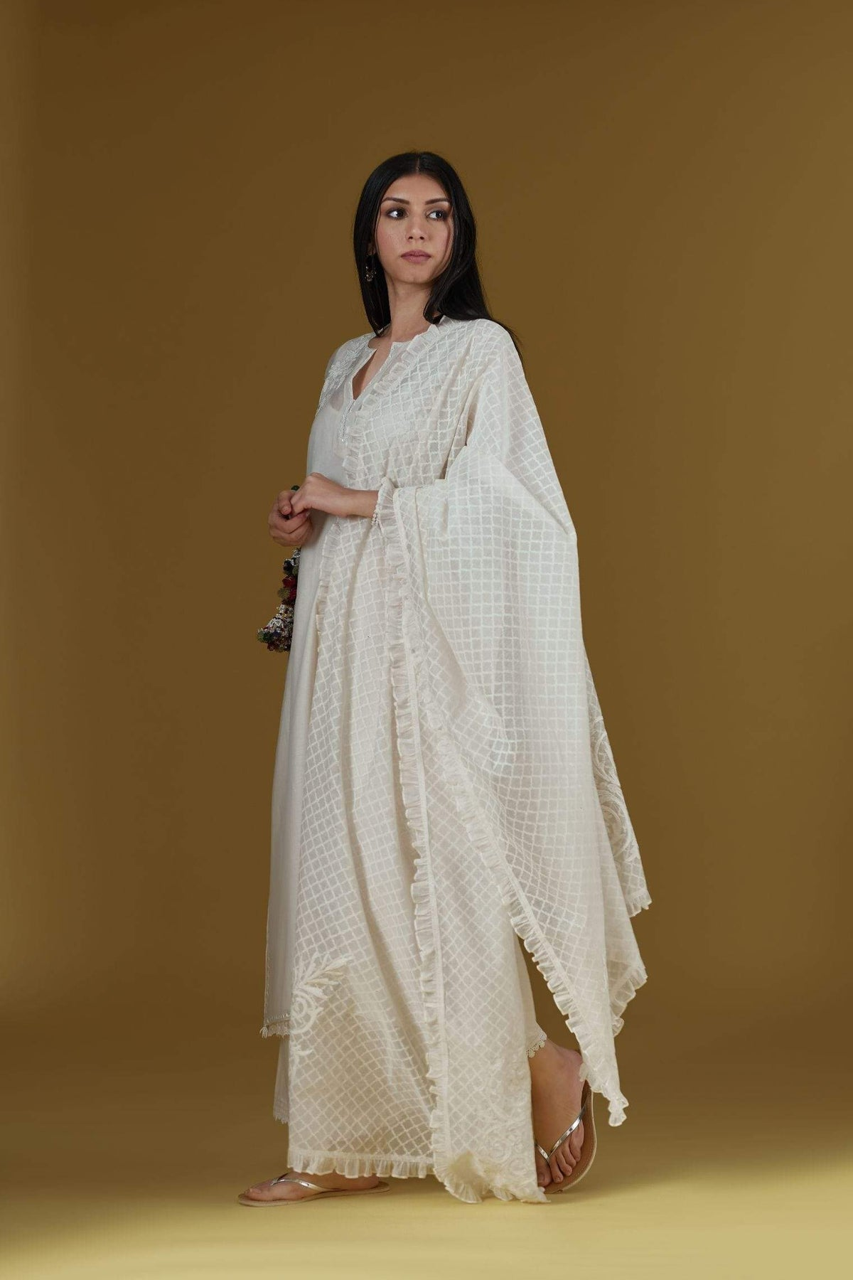 Kora Kurtas Straight kurta set with dori embroidery