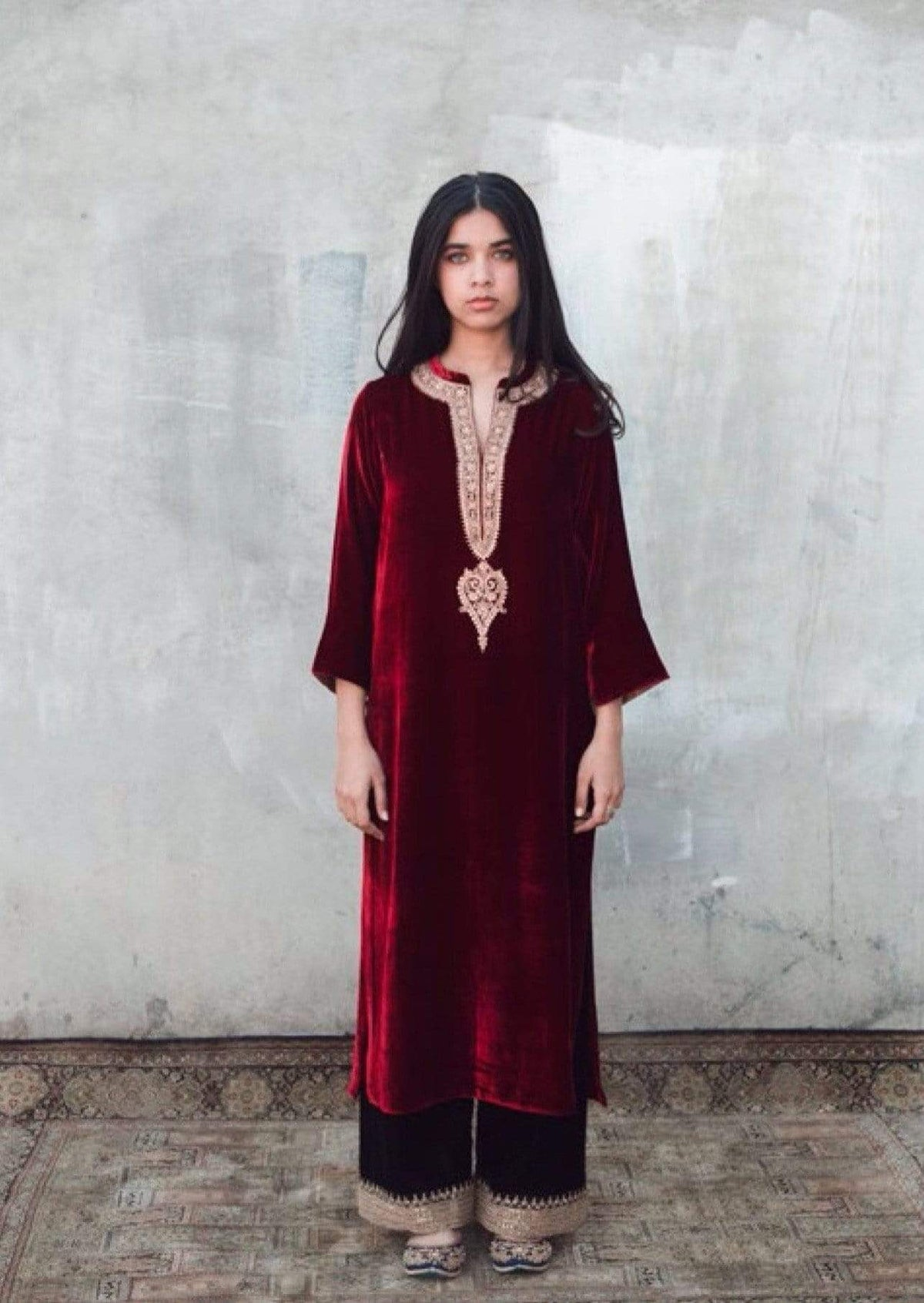 Lajjoo C Kurtas Embroidered  kurta and pants in velvet