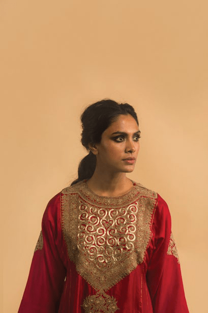 Lajjoo.C Kurtas Red embroidered kurta and pants