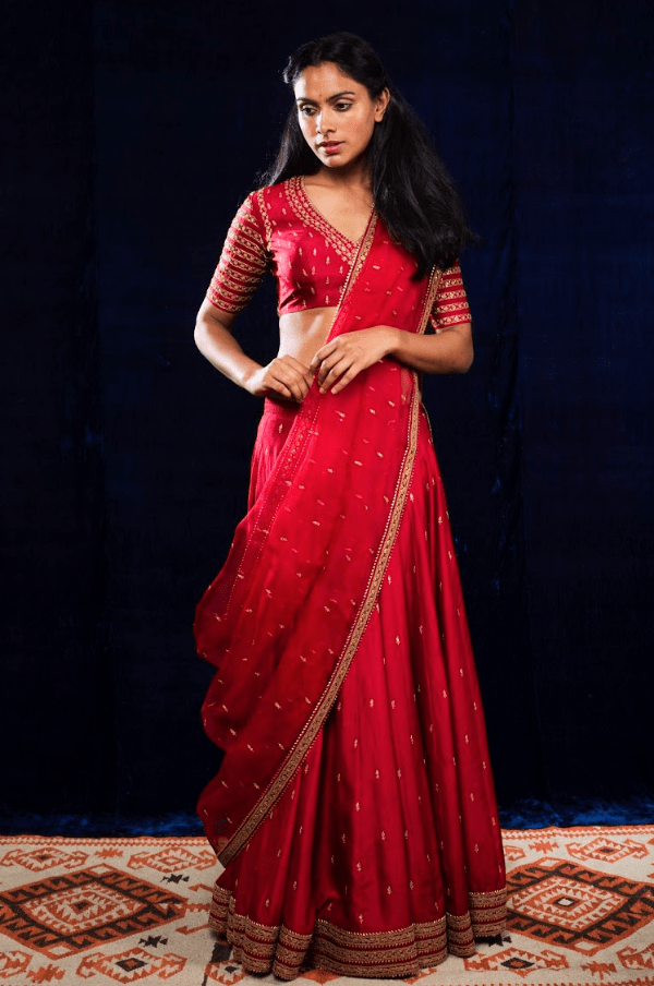 Lajjoo.C Lehengas Red embroidered silk lehenga set