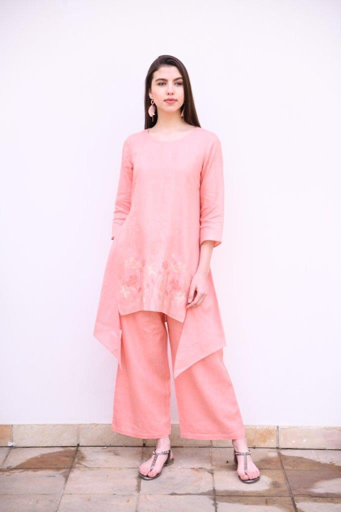Linen Bloom Bottoms Salmon wide pants