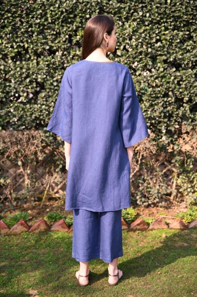 Linen Bloom Capes Front open cape with french knots