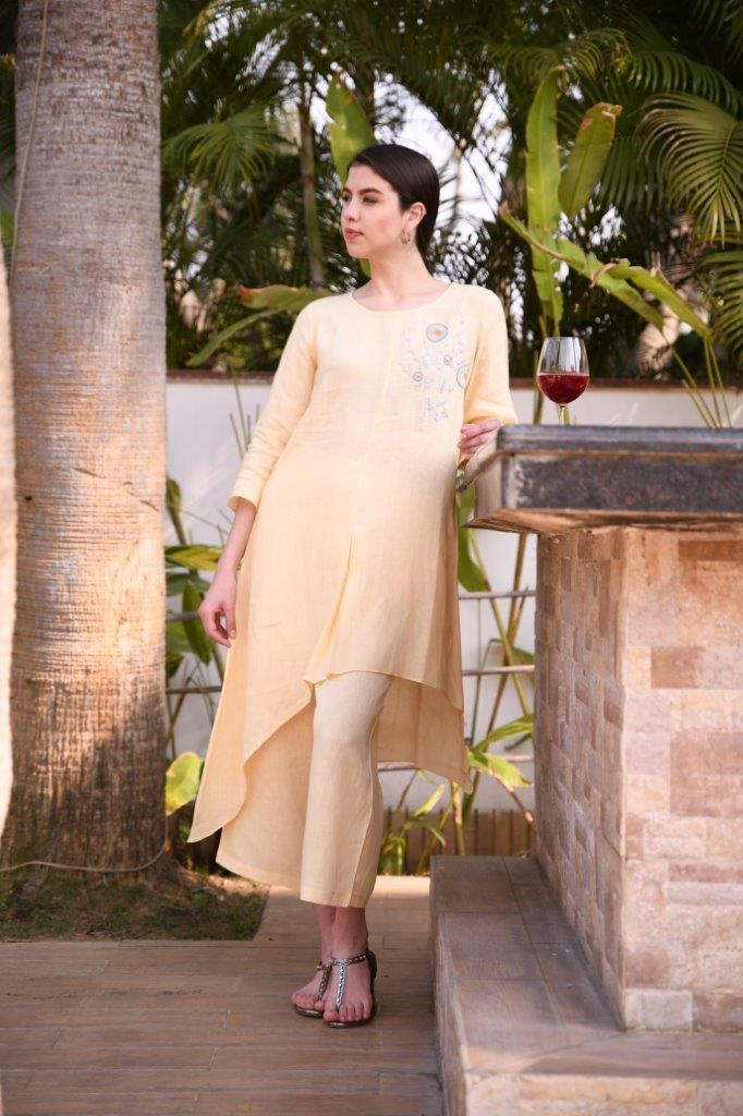 Linen Bloom Tunics Asymmetrical tunic with floral embroidery