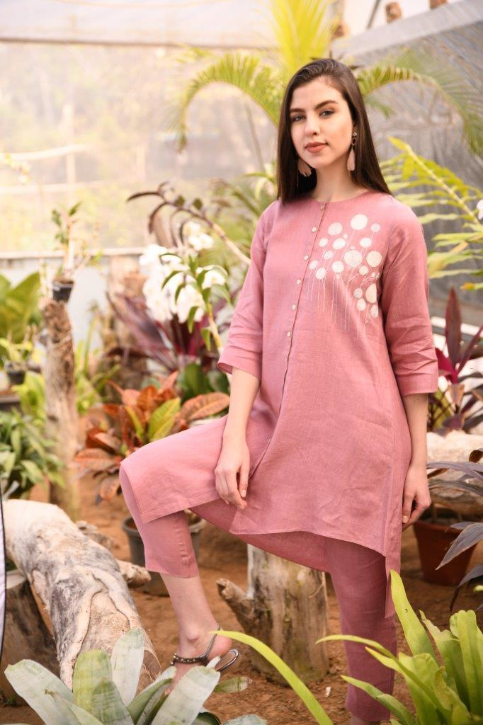 Linen Bloom Tunics Rose pink asymmmetrical tunic