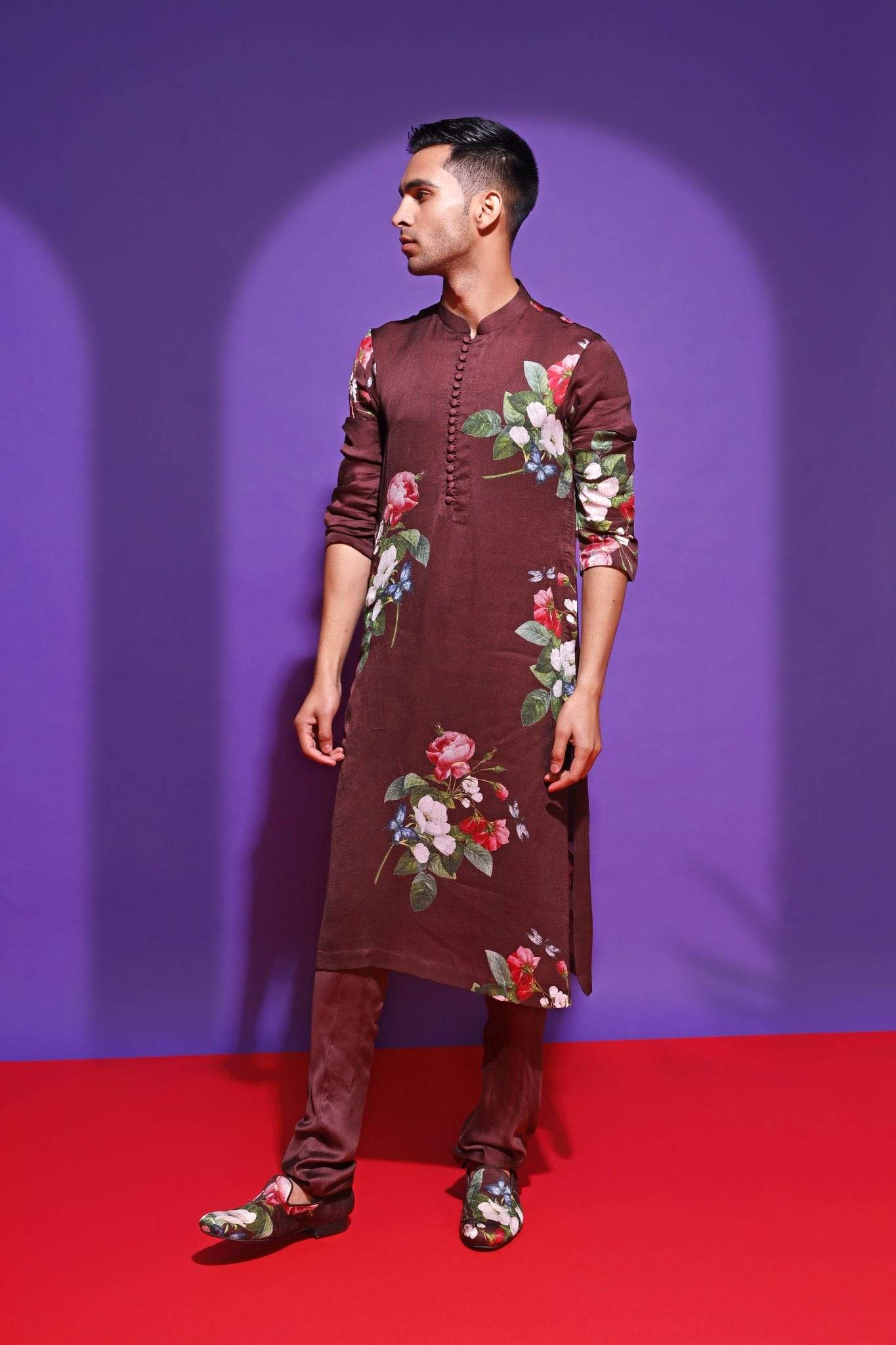 Mahima Mahajan Mens Kurtas Brown printed kurta set
