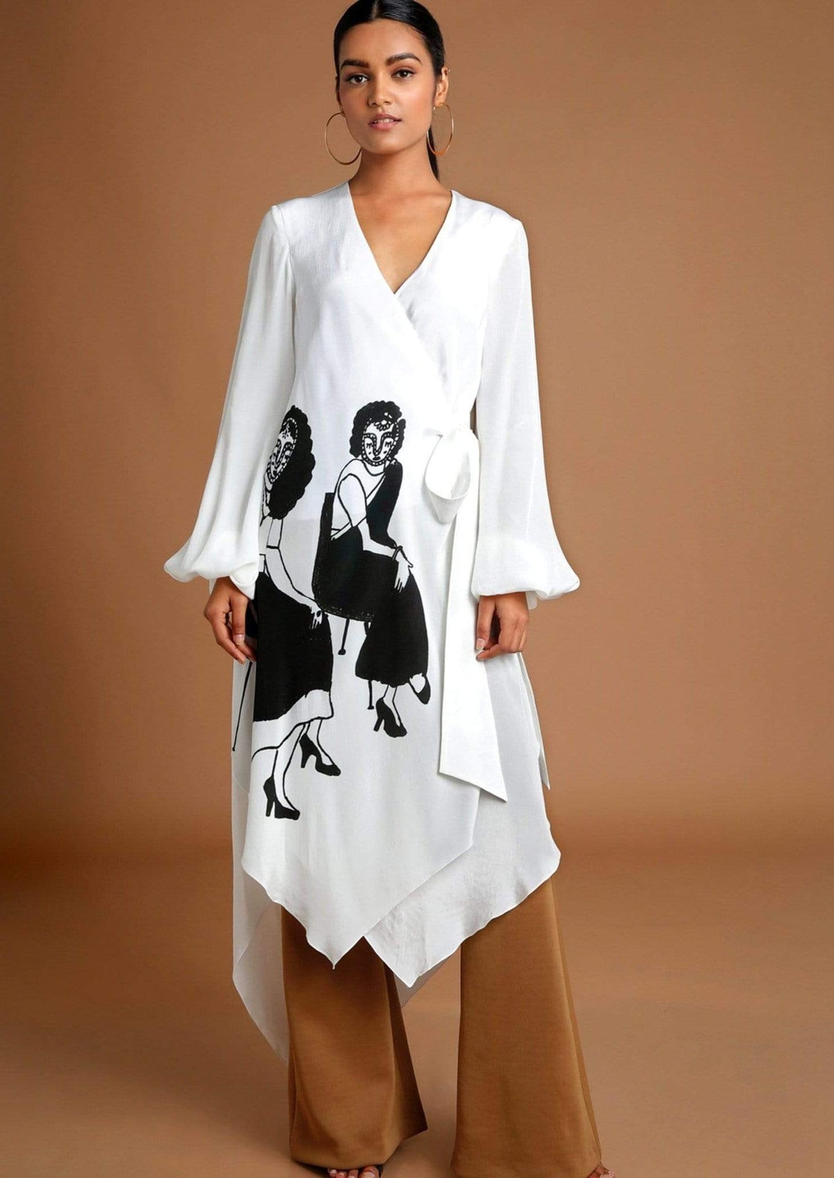 Masaba Co-ordinated sets Ivory wrap top and bell bottoms set