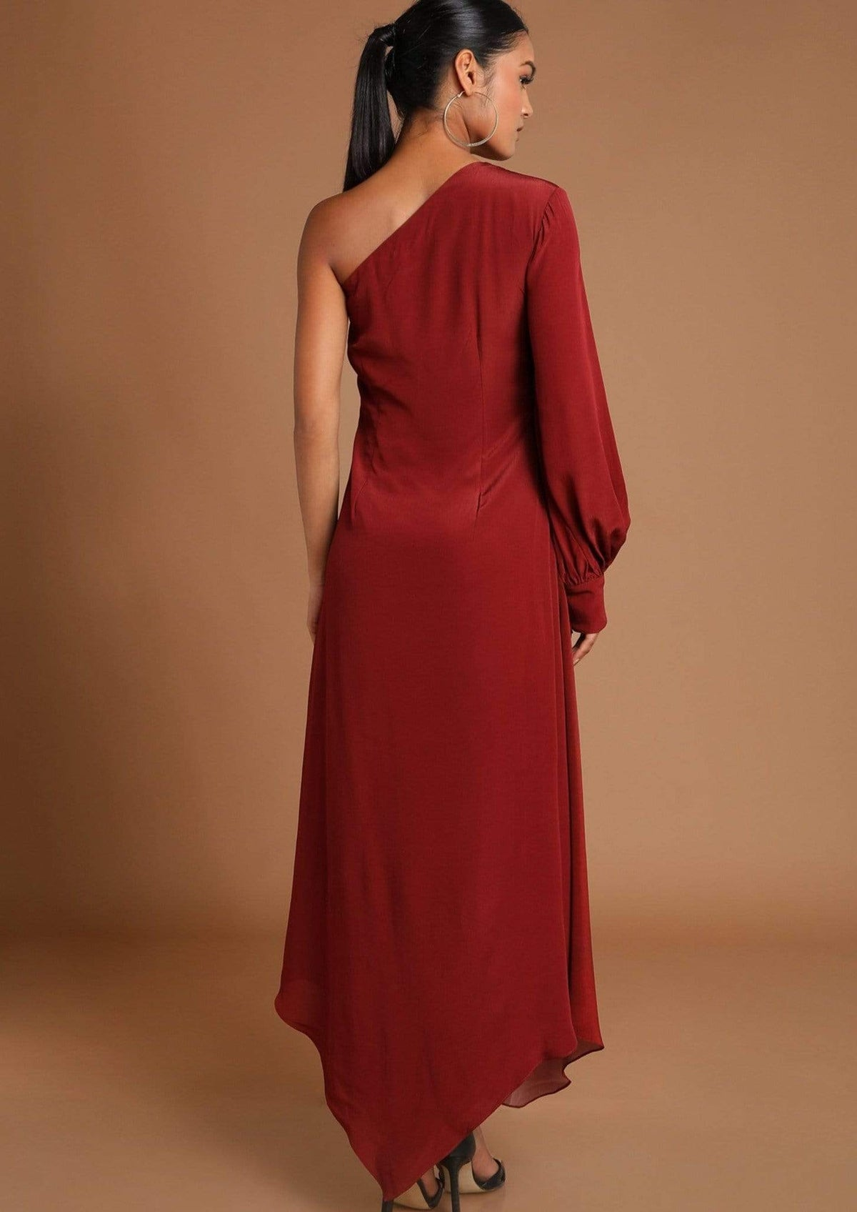 Masaba Dresses Quirky maroon one shoulder crepe dress