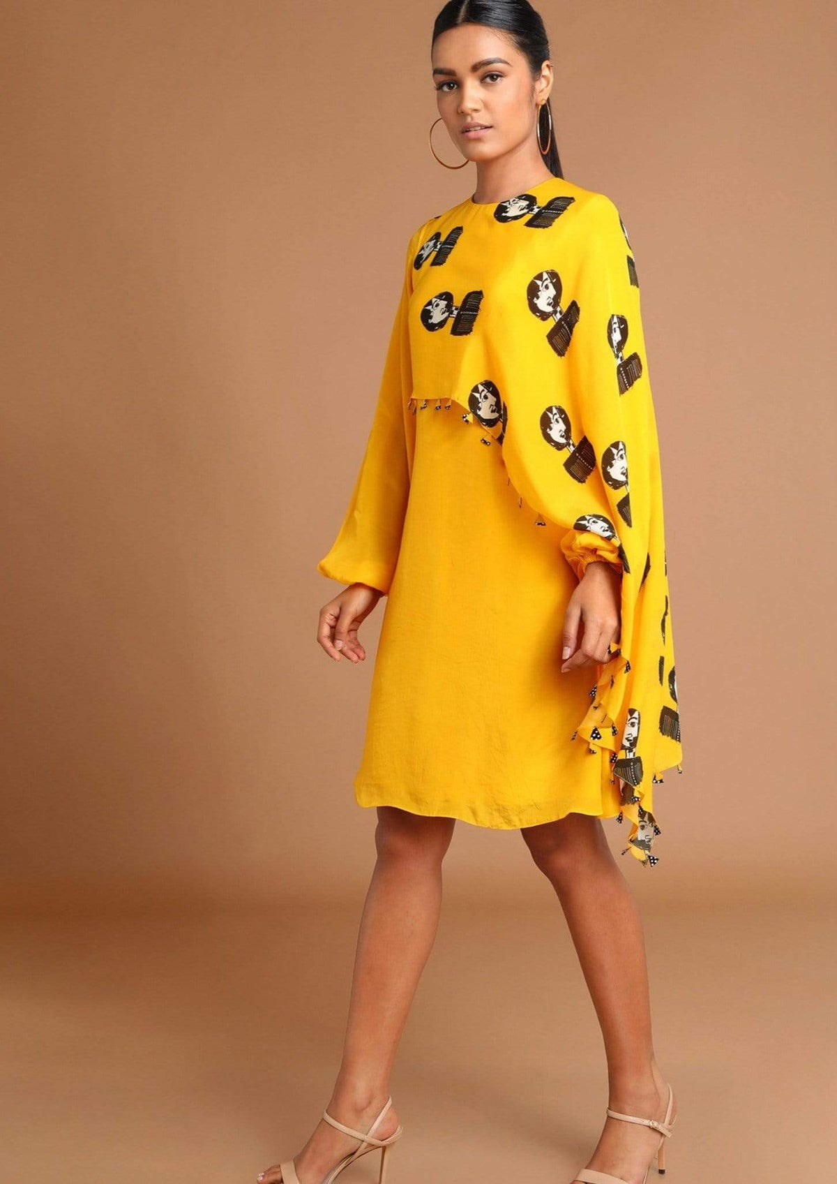 Masaba Dresses Summery yellow reflection crepe cape dress