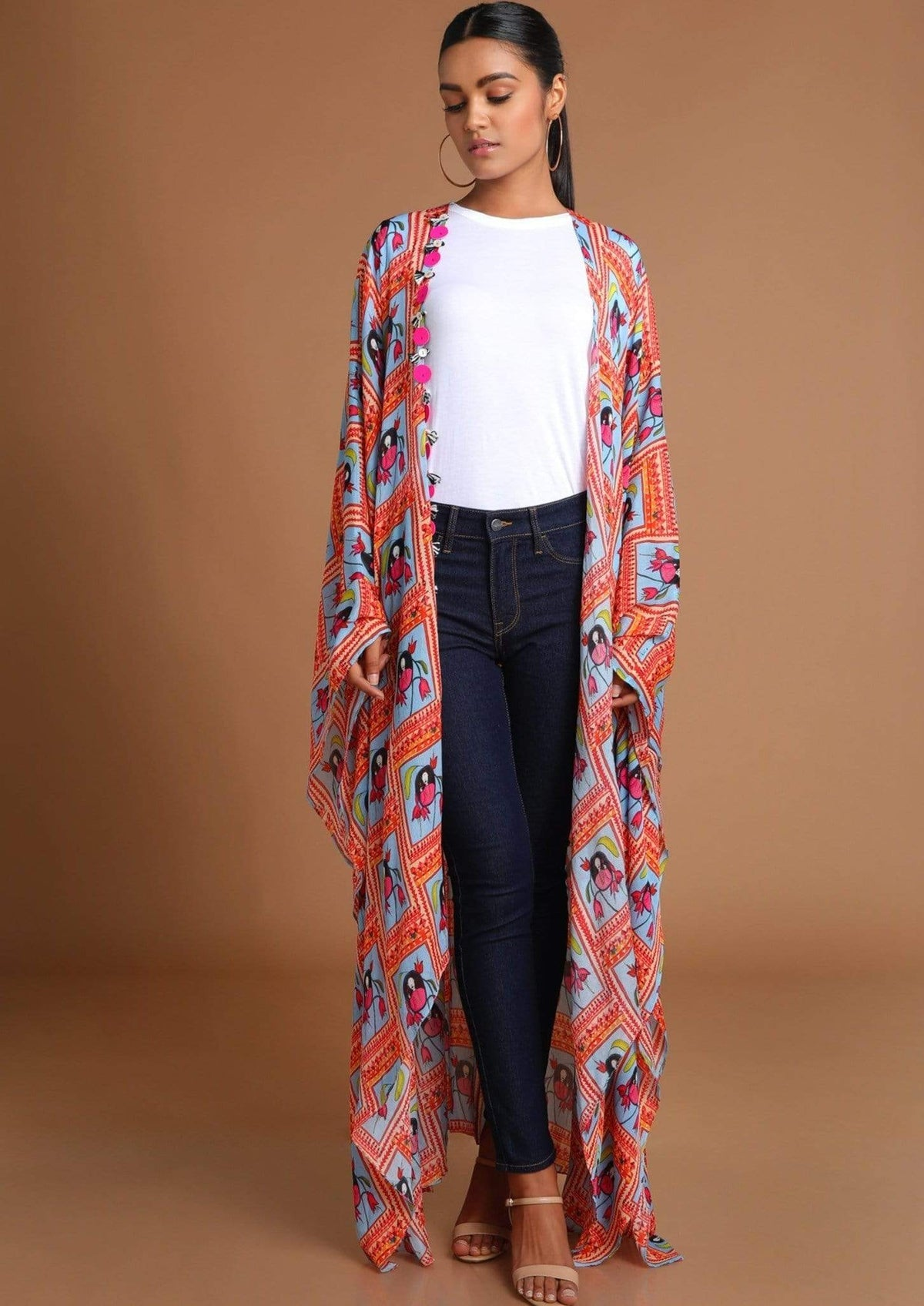 Masaba Jackets Ice blue portrait kaftan jacket