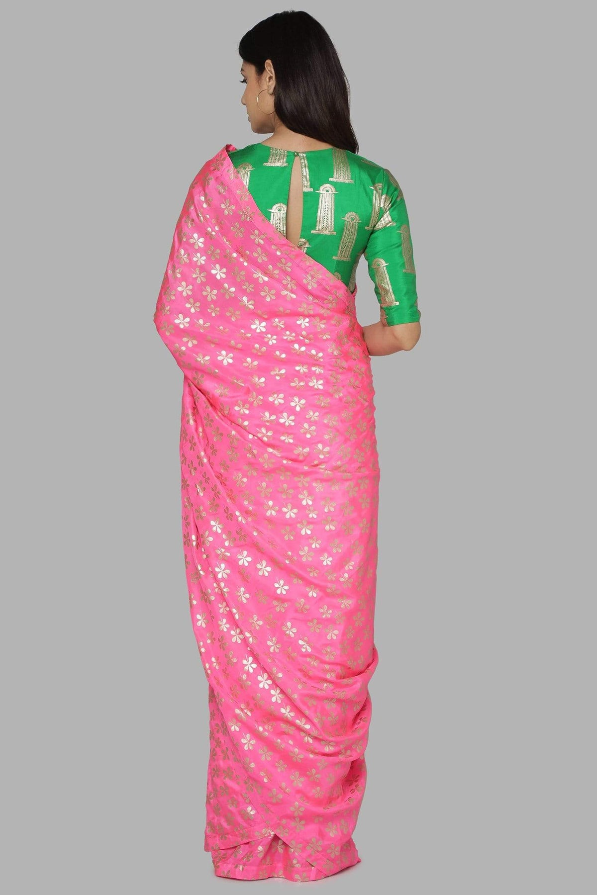 Masaba Sarees FS Candy pink saree with green blouse piece