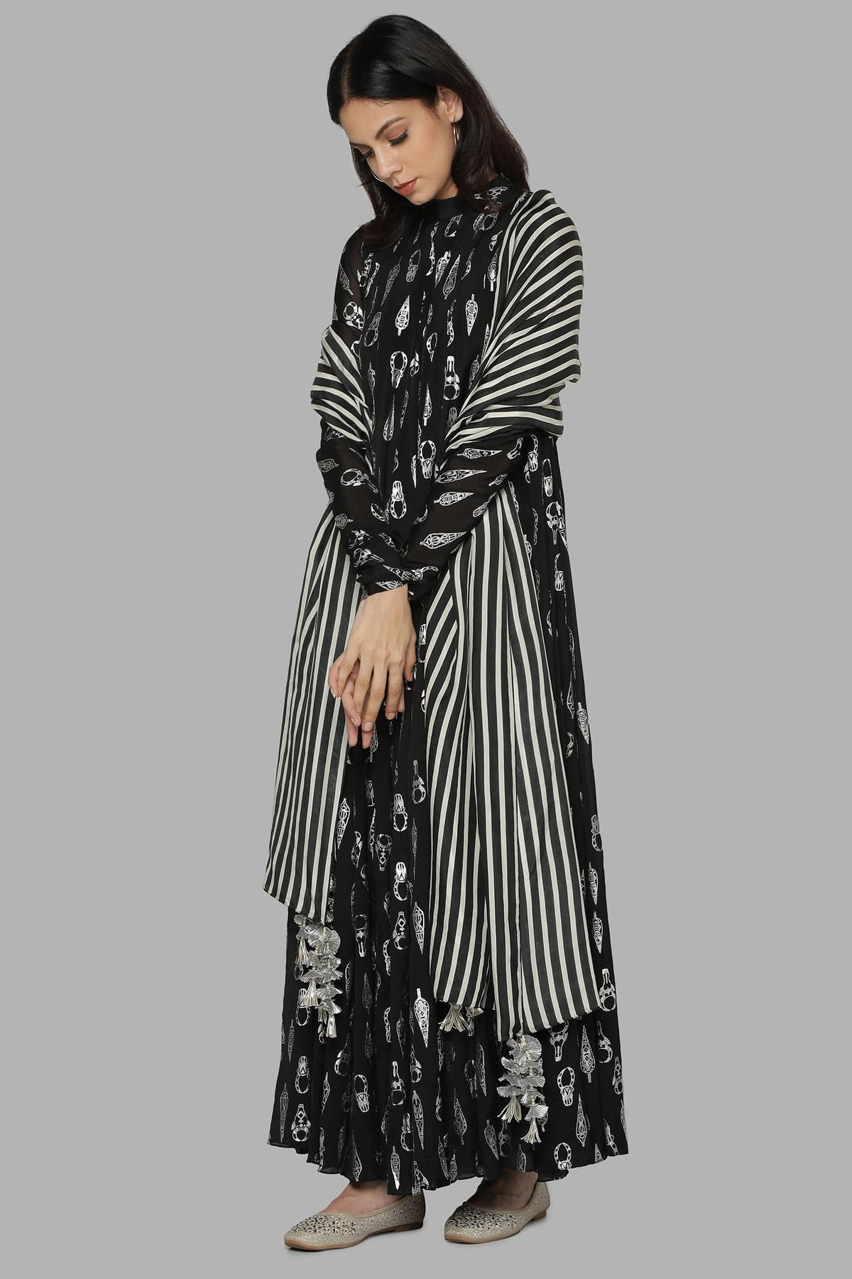 Masaba Tunics Black bull tribe anarkali set