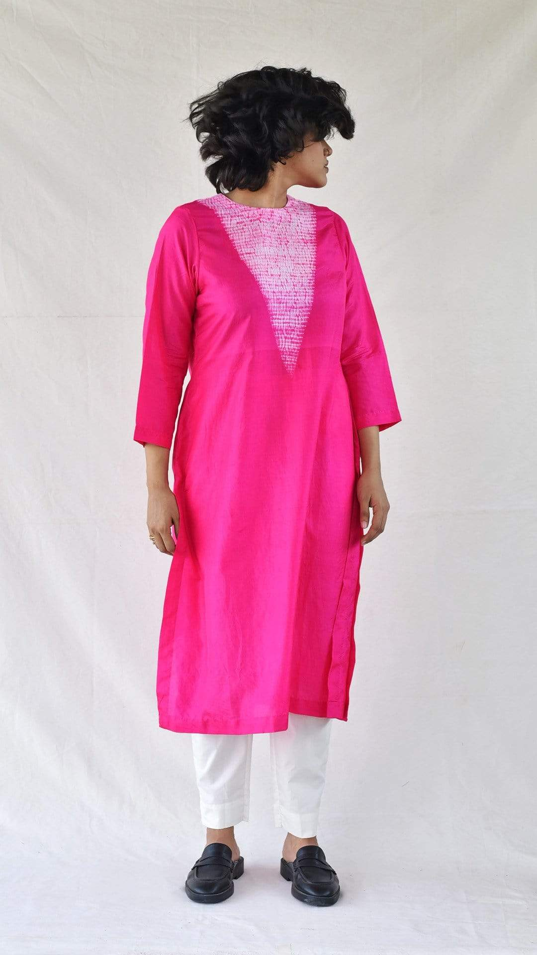 Medium Dresses Fuchsia Silk Shibori Kurta
