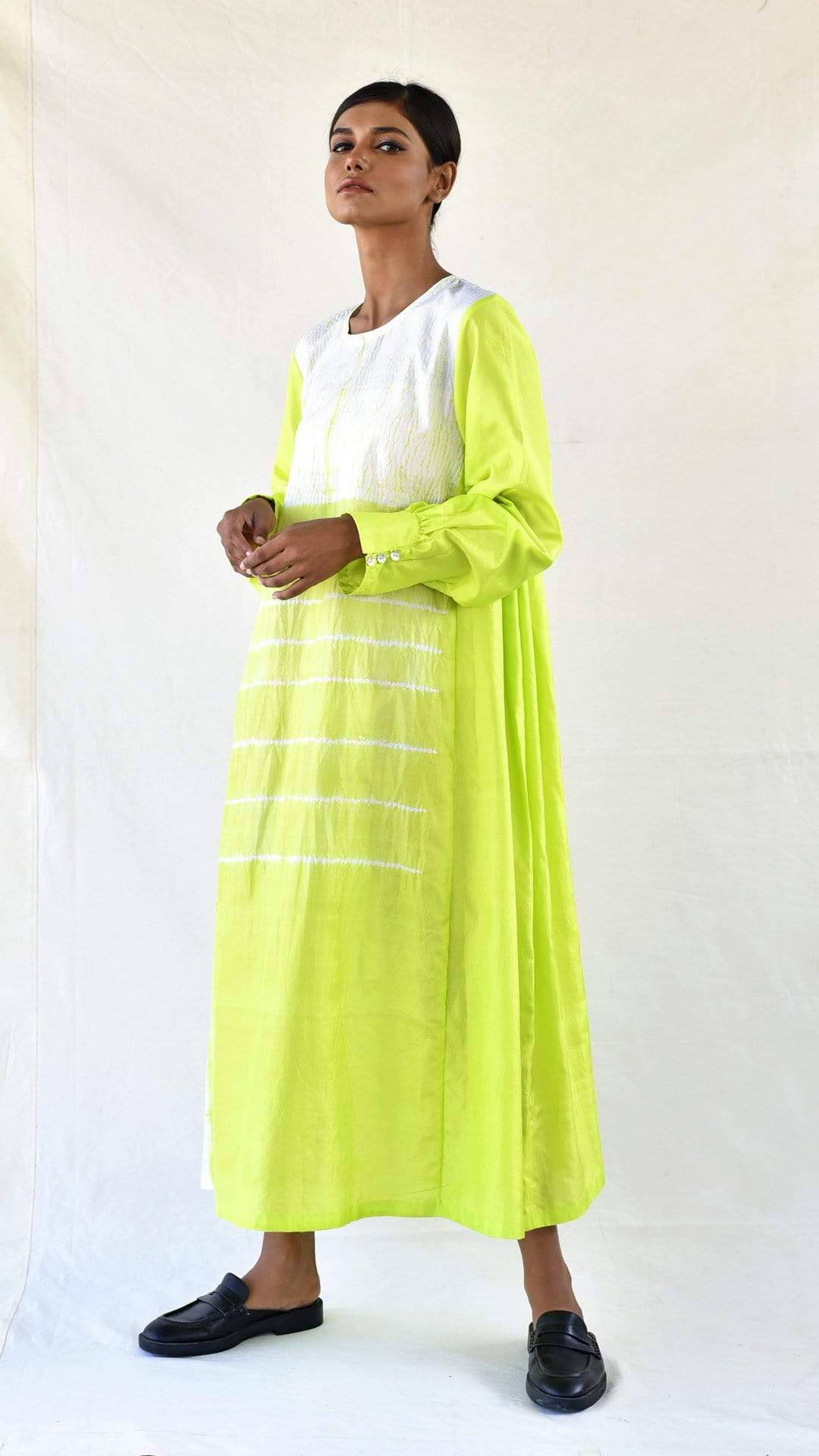 Medium Dresses Lime Silk Shibori Dress