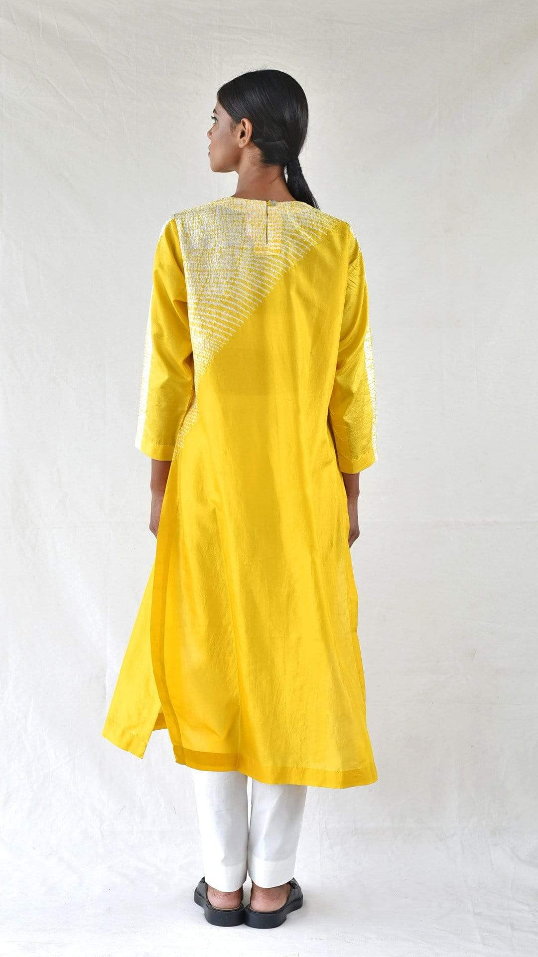Medium Kurtas Yellow Silk Shibori Kurta