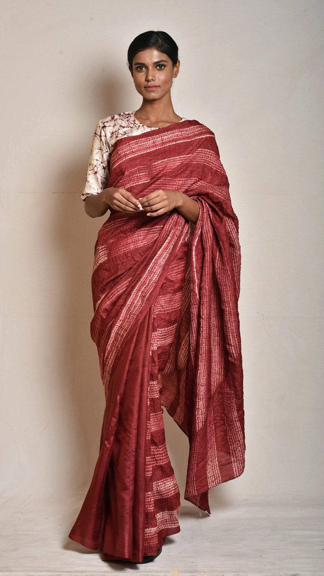 Medium Sarees Maroon Abstract Nui-shibori Saree