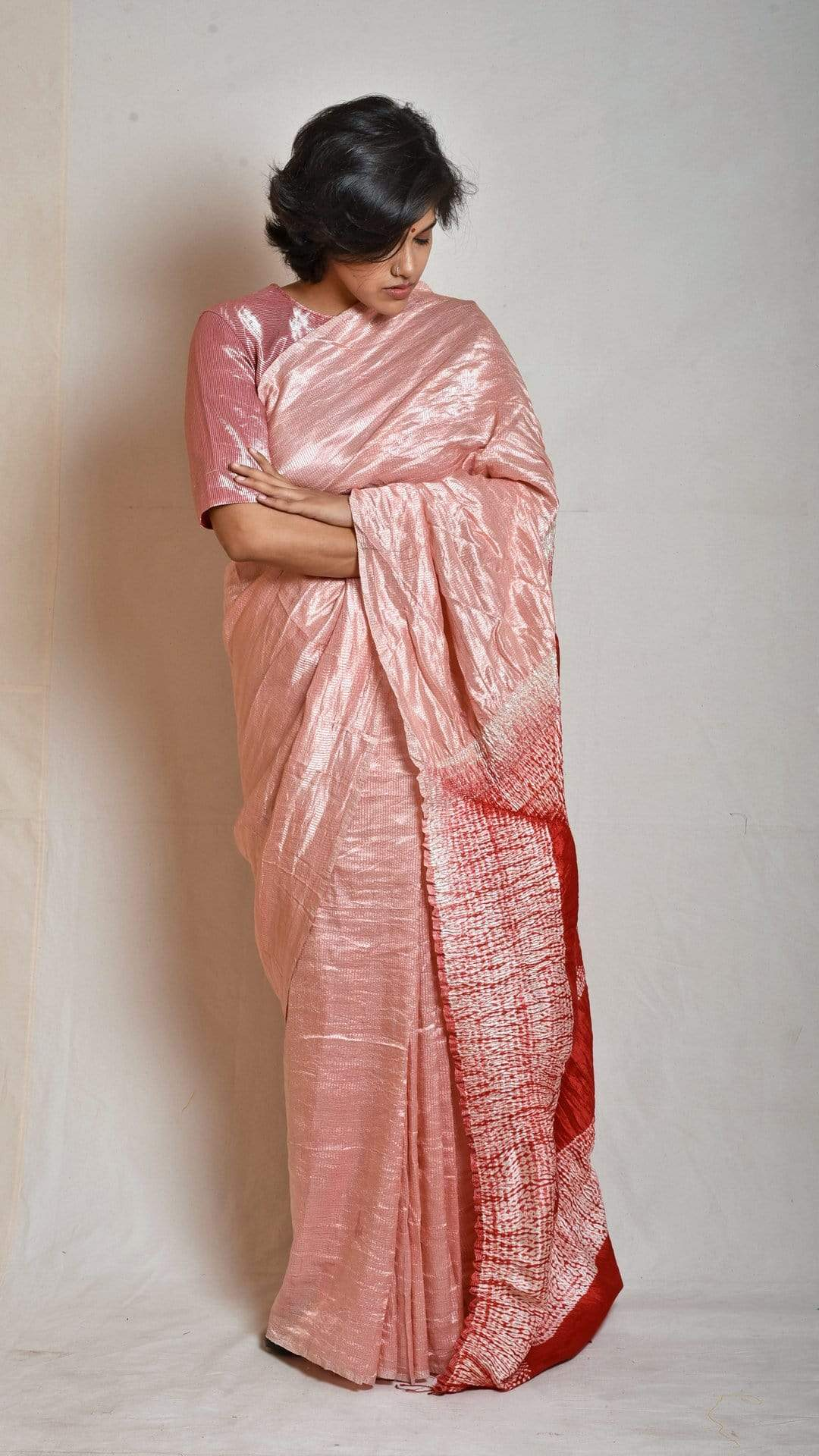 Medium Sarees Peach-Red Metallic Shibori Saree