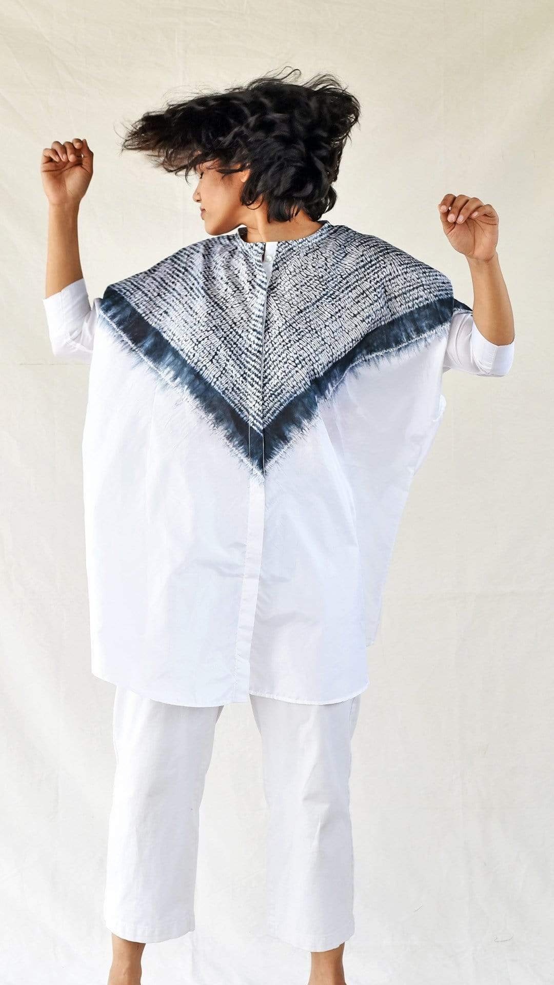 Medium Shirts & Tops Black-White Silk Shibori Shirt