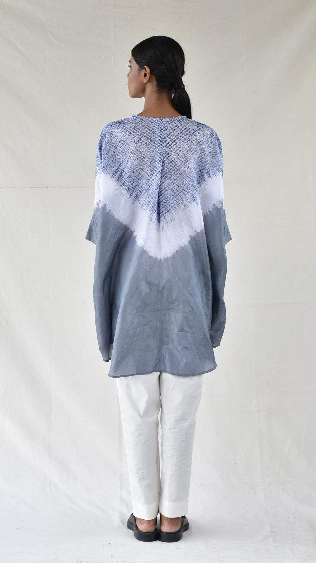 Medium Shirts & Tops Grey Silk Shibori Shirt