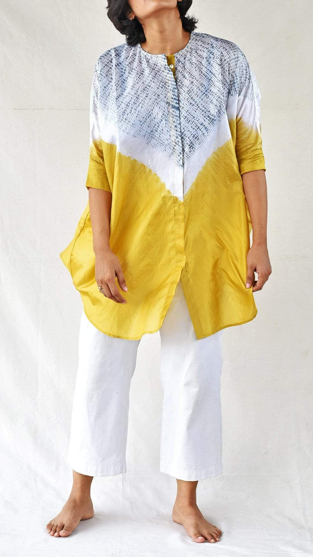 Medium Shirts & Tops Yellow-Grey Silk Shibori Shirt