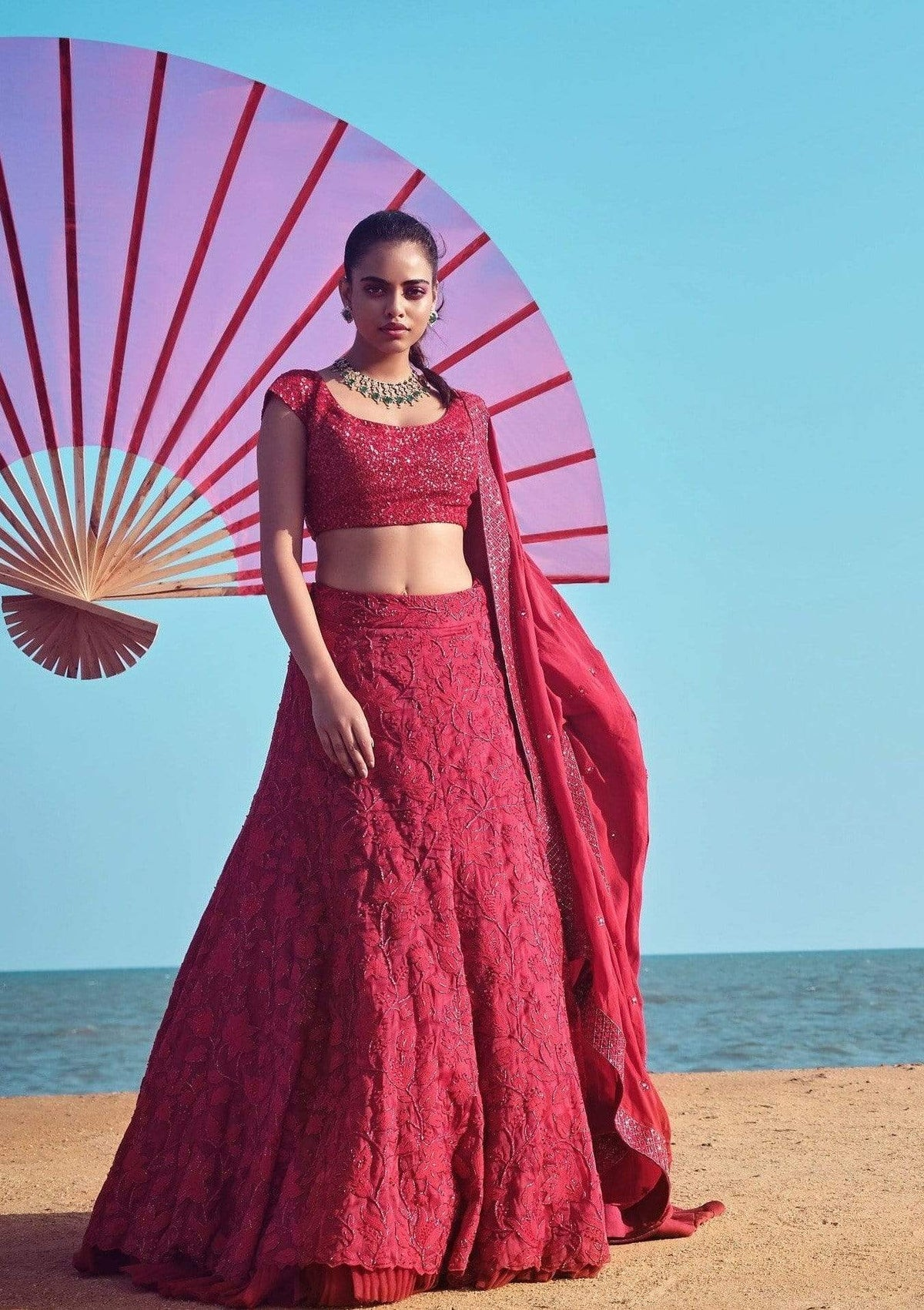 Mishru Lehengas Deep Red lehenga with blouse & dupatta